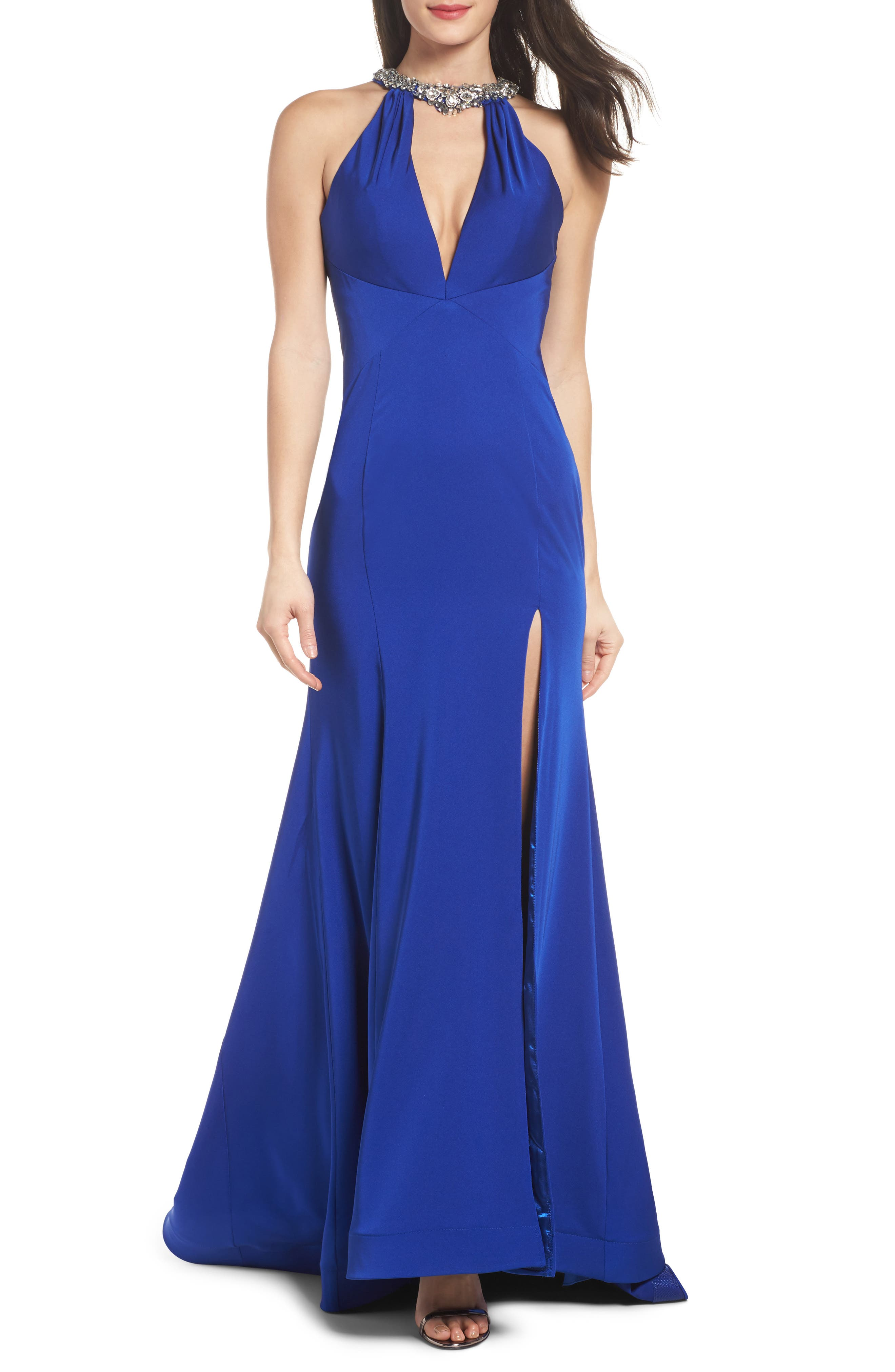 Jewel Neck Mermaid Gown,                         Main,                         color, COBALT