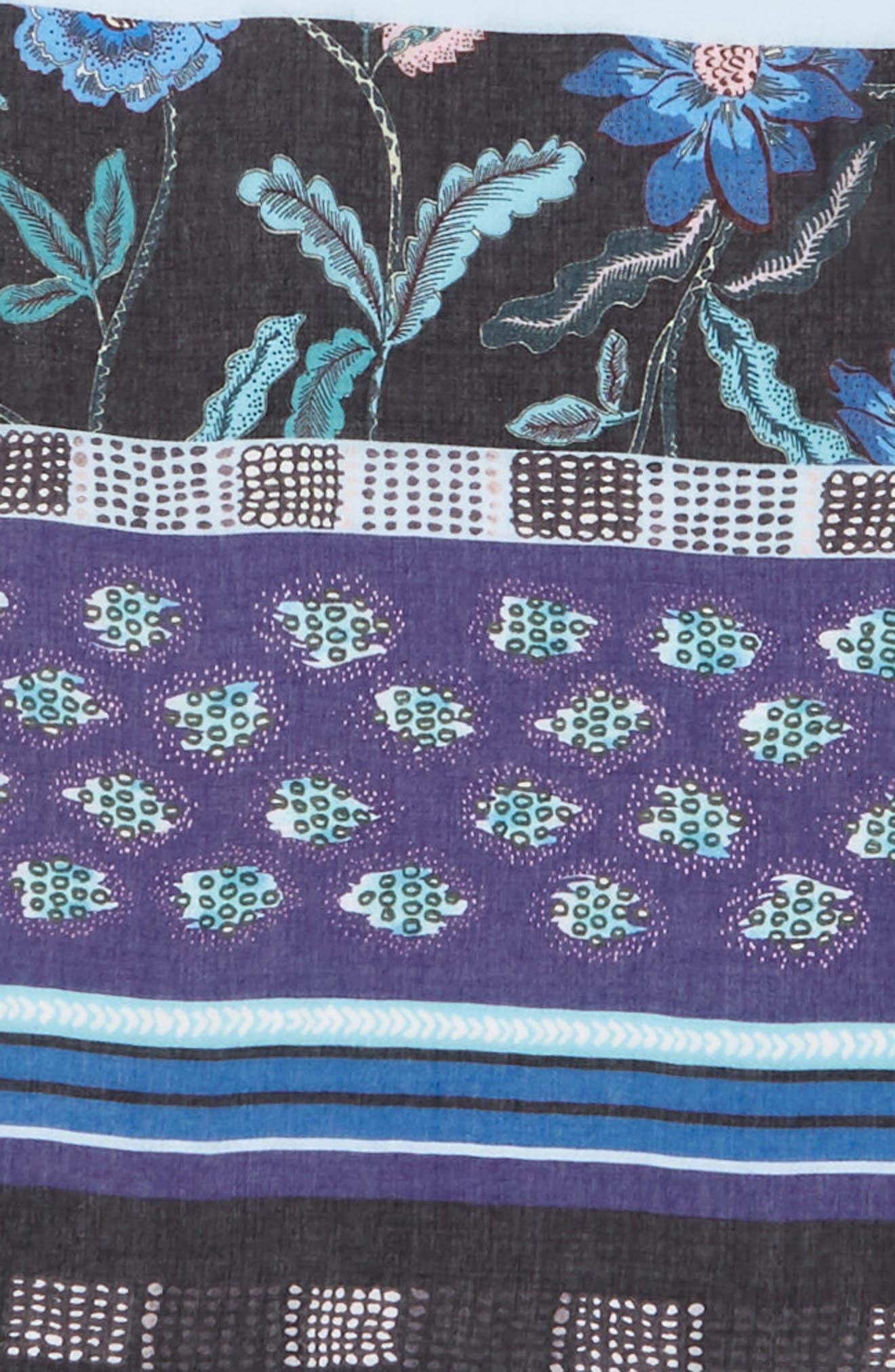 Rebecca Mixed Floral Stripe Scarf,                             Alternate thumbnail 4, color,                             BLACK