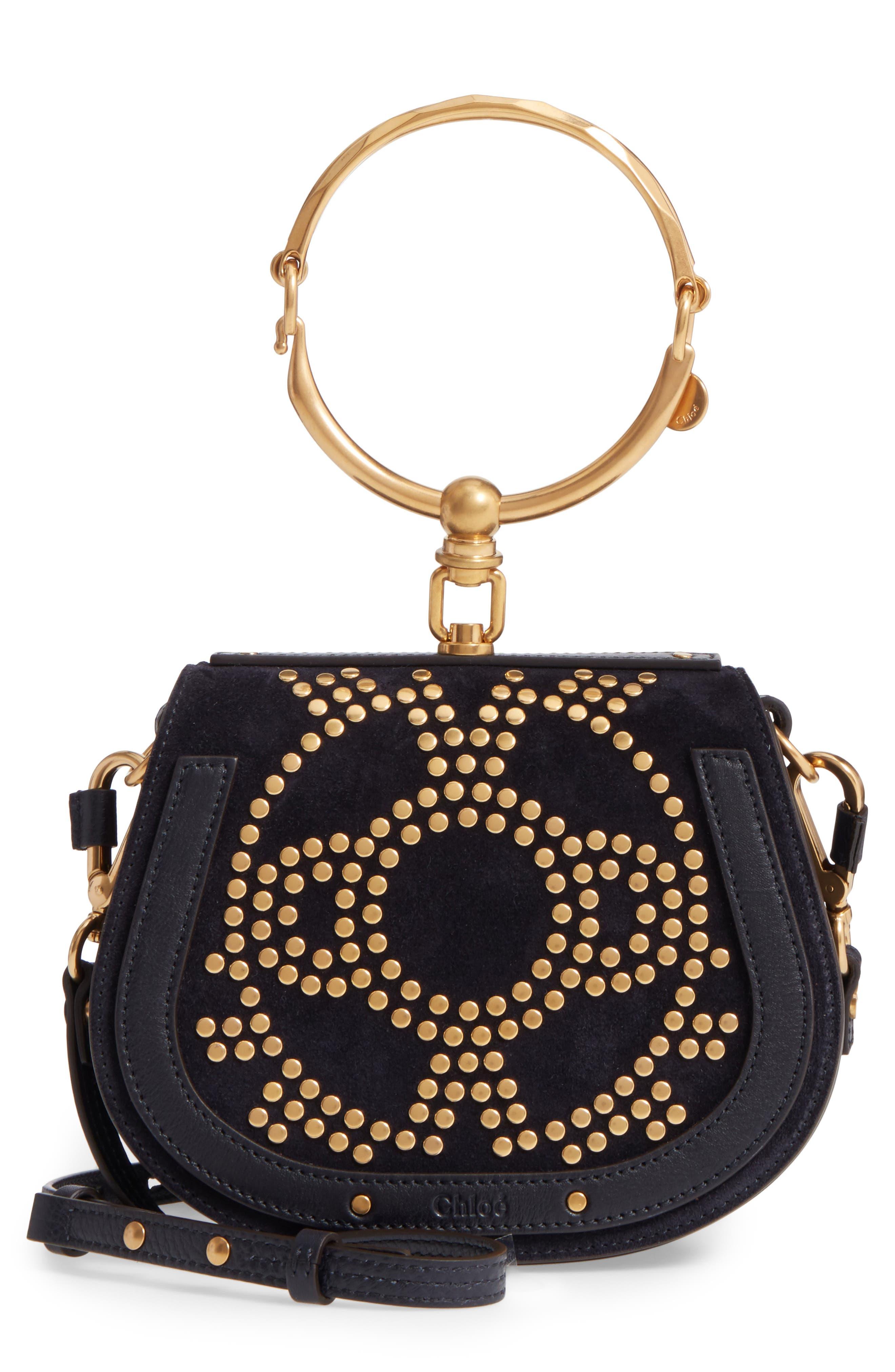 Small Nile Bracelet Studded Leather Crossbody Bag,                         Main,                         color,