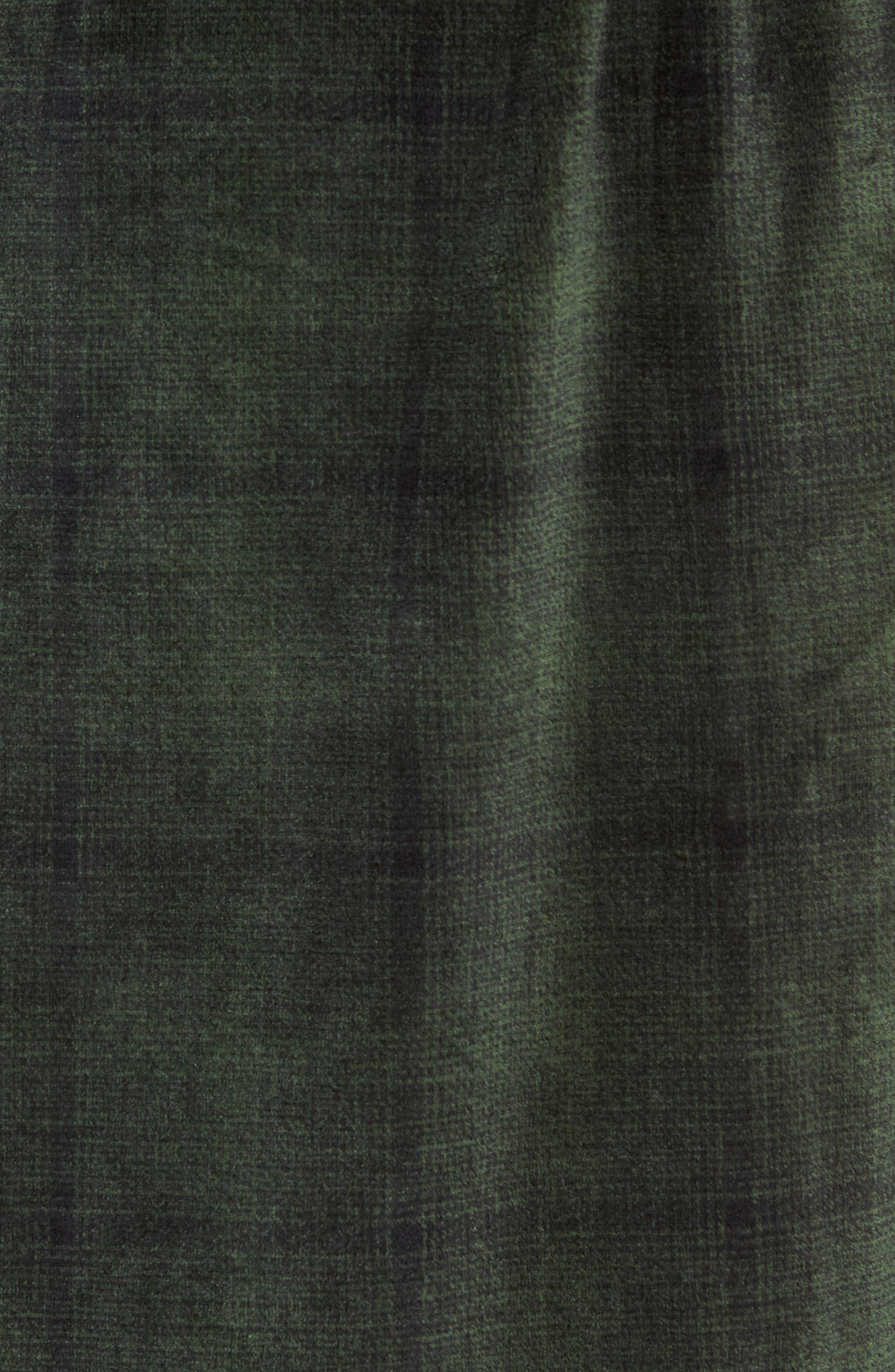Ombré Plaid Fleece Robe,                             Alternate thumbnail 5, color,                             GREEN - BLACK OMBRE PLAID