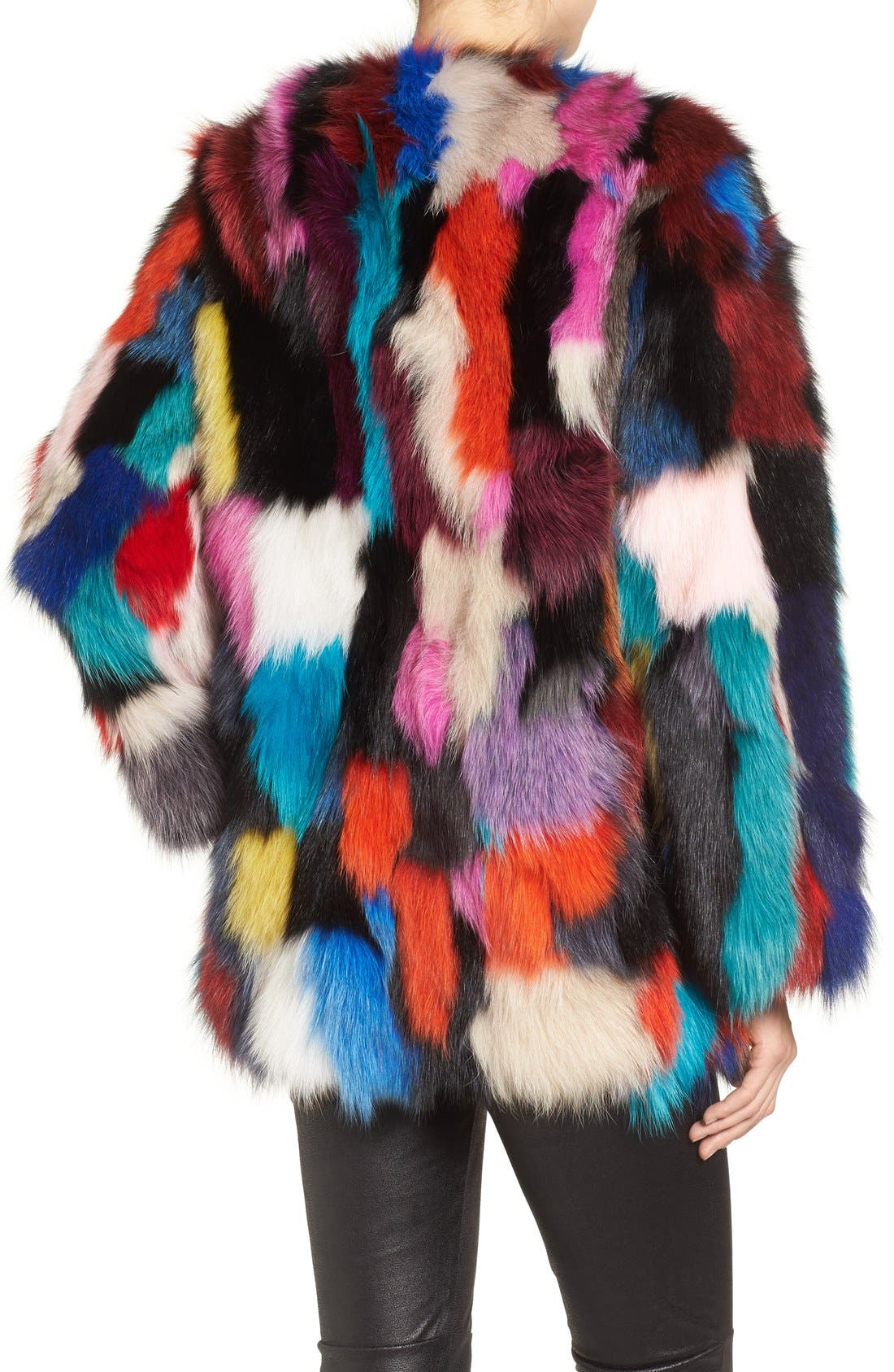 Marmalade Patchwork Genuine Fox Fur Coat,                             Alternate thumbnail 2, color,                             400