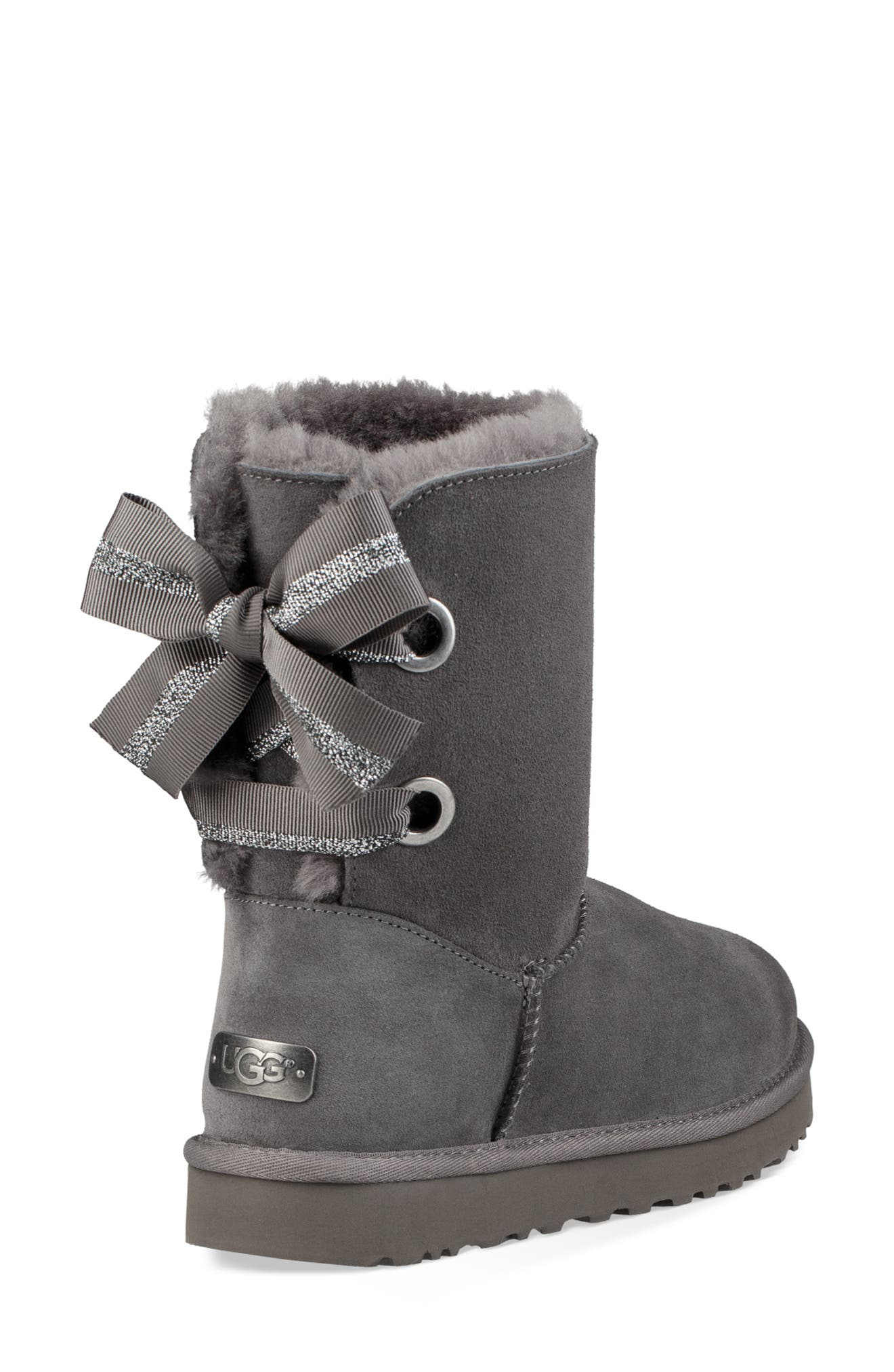Customizable Bailey Bow Genuine Shearling Bootie,                             Alternate thumbnail 2, color,                             CHARCOAL SUEDE