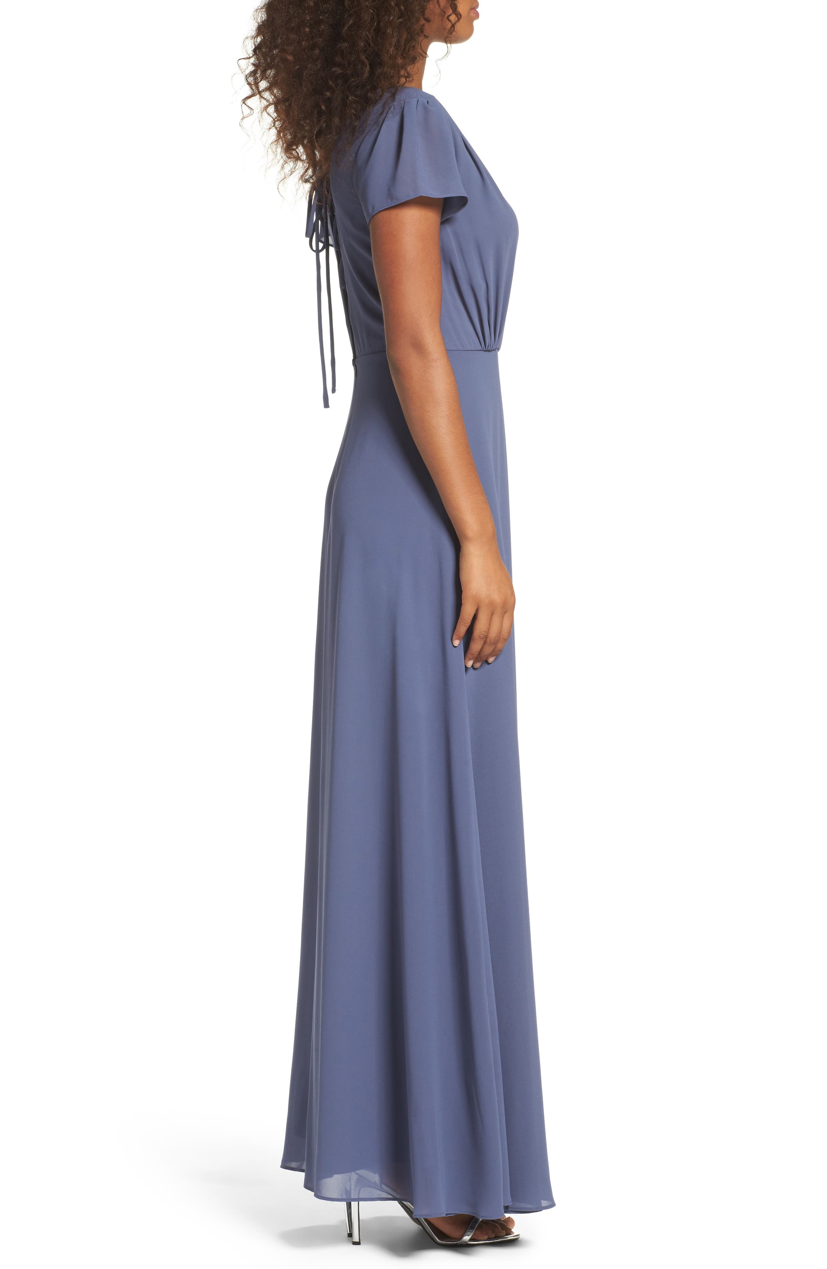 Lace-Up Back Chiffon Gown,                             Alternate thumbnail 3, color,                             400