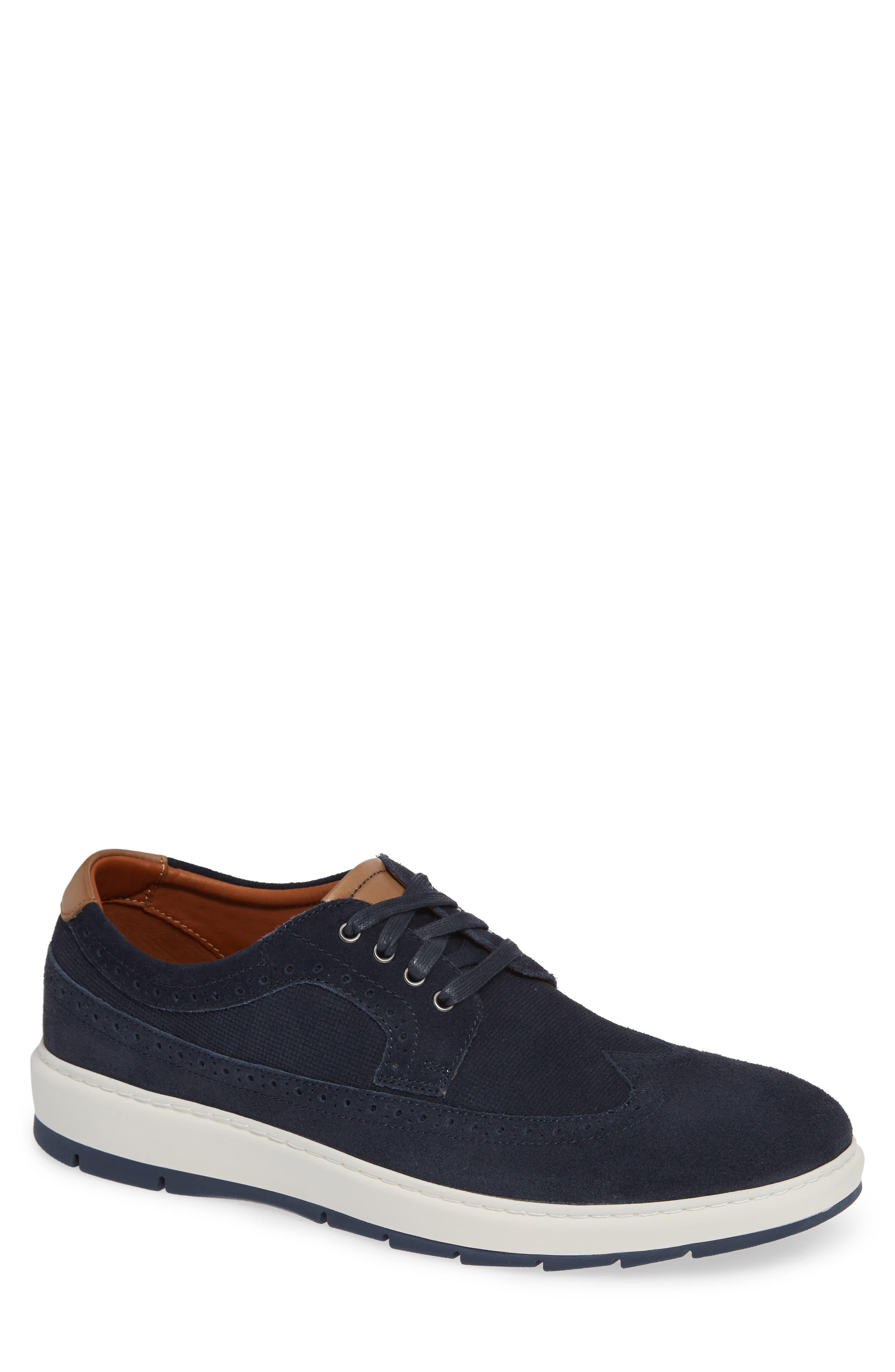Elliston Wingtip Sneaker, Main, color, NAVY SUEDE