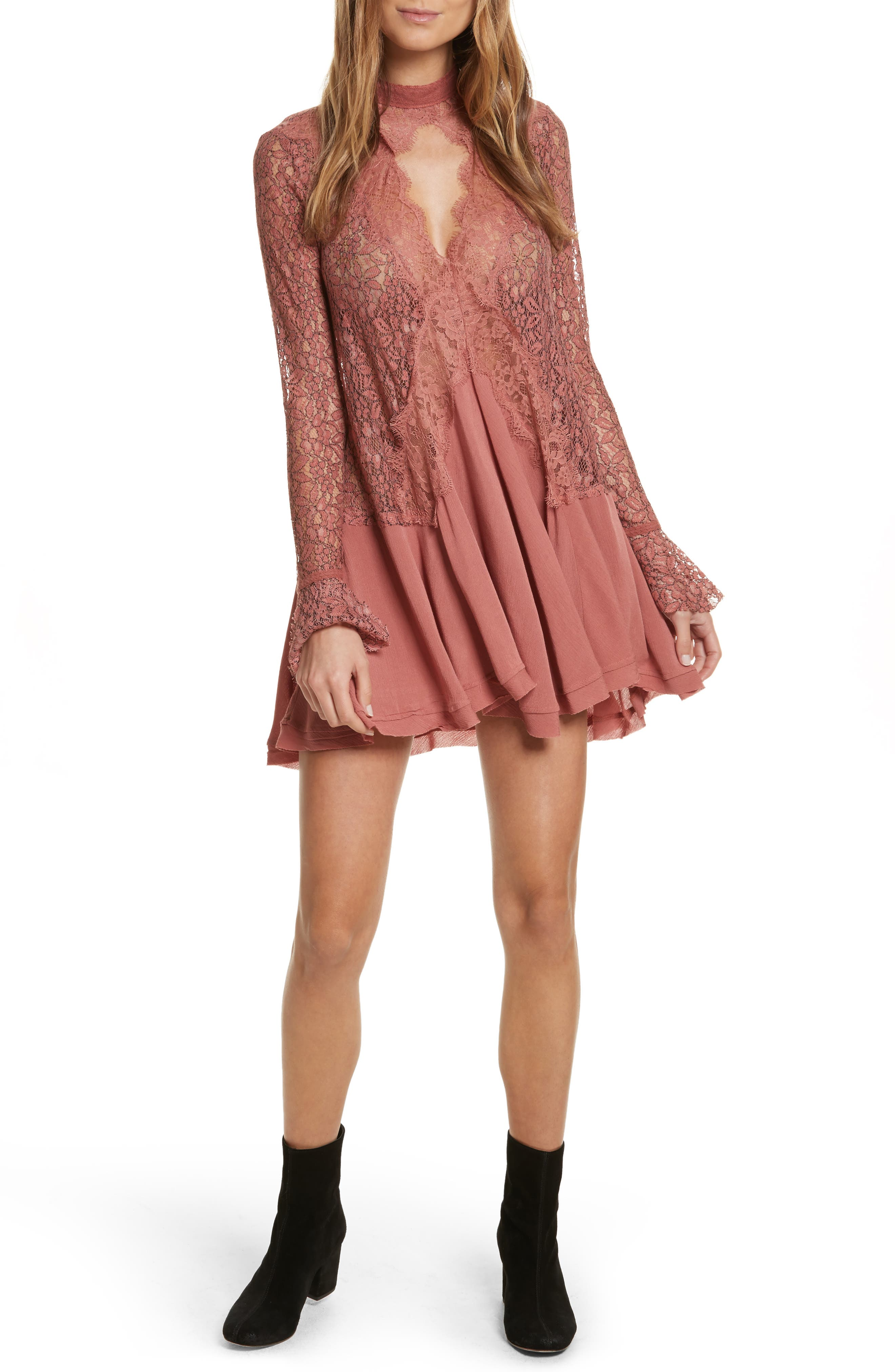 FREE PEOPLE,                             New Tell Tale Lace Minidress,                             Alternate thumbnail 5, color,                             605
