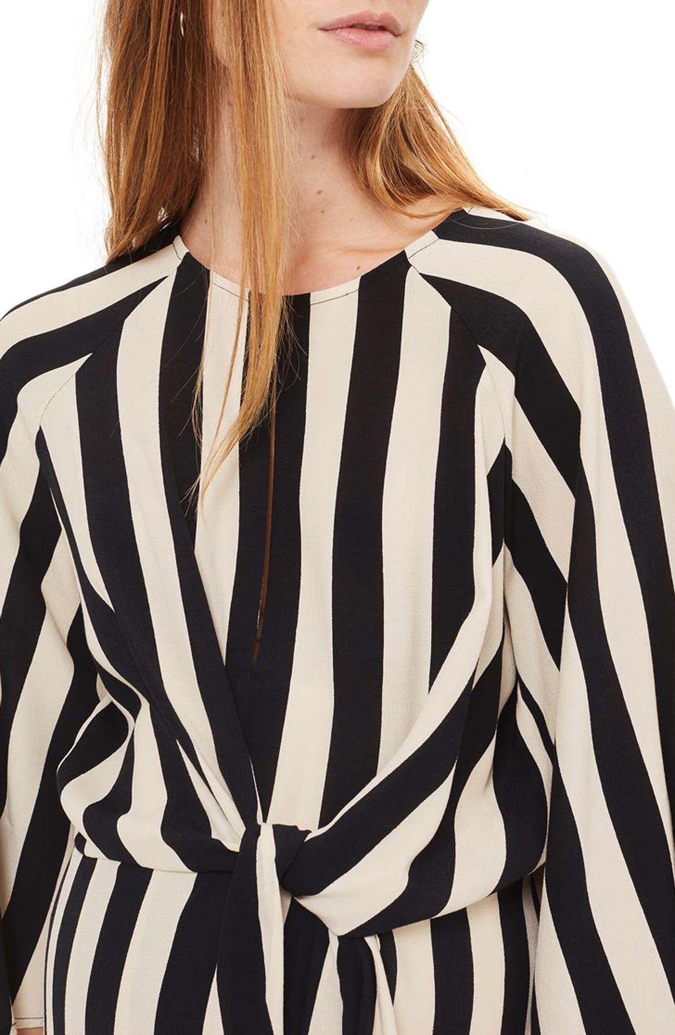 Humbug Stripe Knot Maternity Dress,                             Alternate thumbnail 3, color,                             900