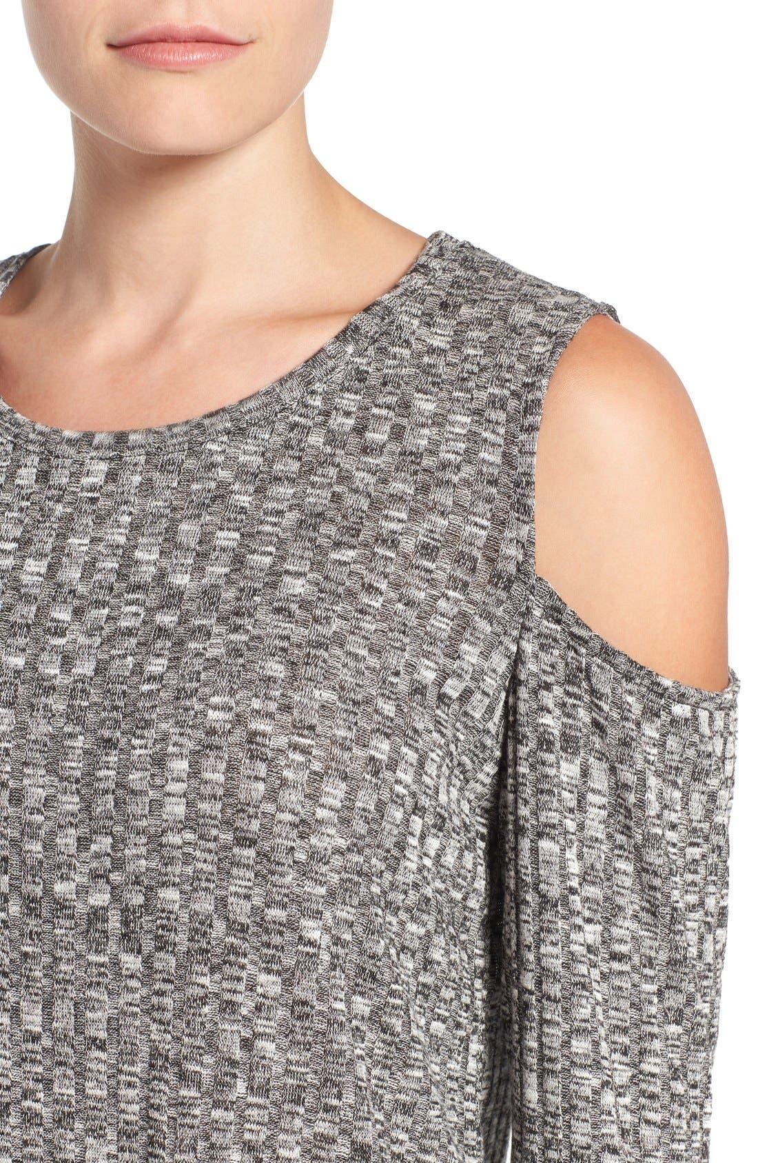 BOBEAU,                             Cold Shoulder Ribbed Sweater,                             Alternate thumbnail 2, color,                             014