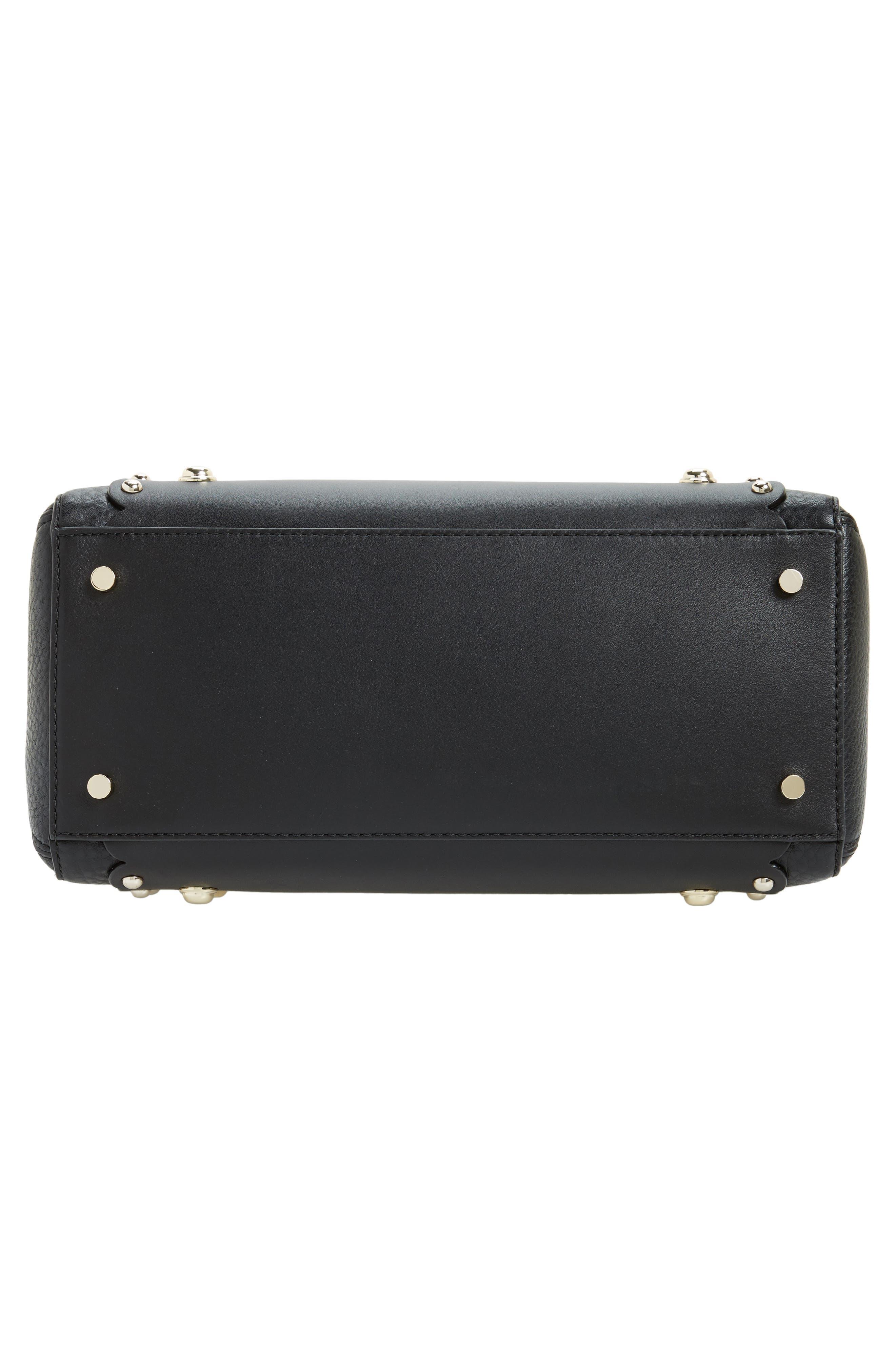 madison stewart studded mega lane leather satchel,                             Alternate thumbnail 6, color,                             001