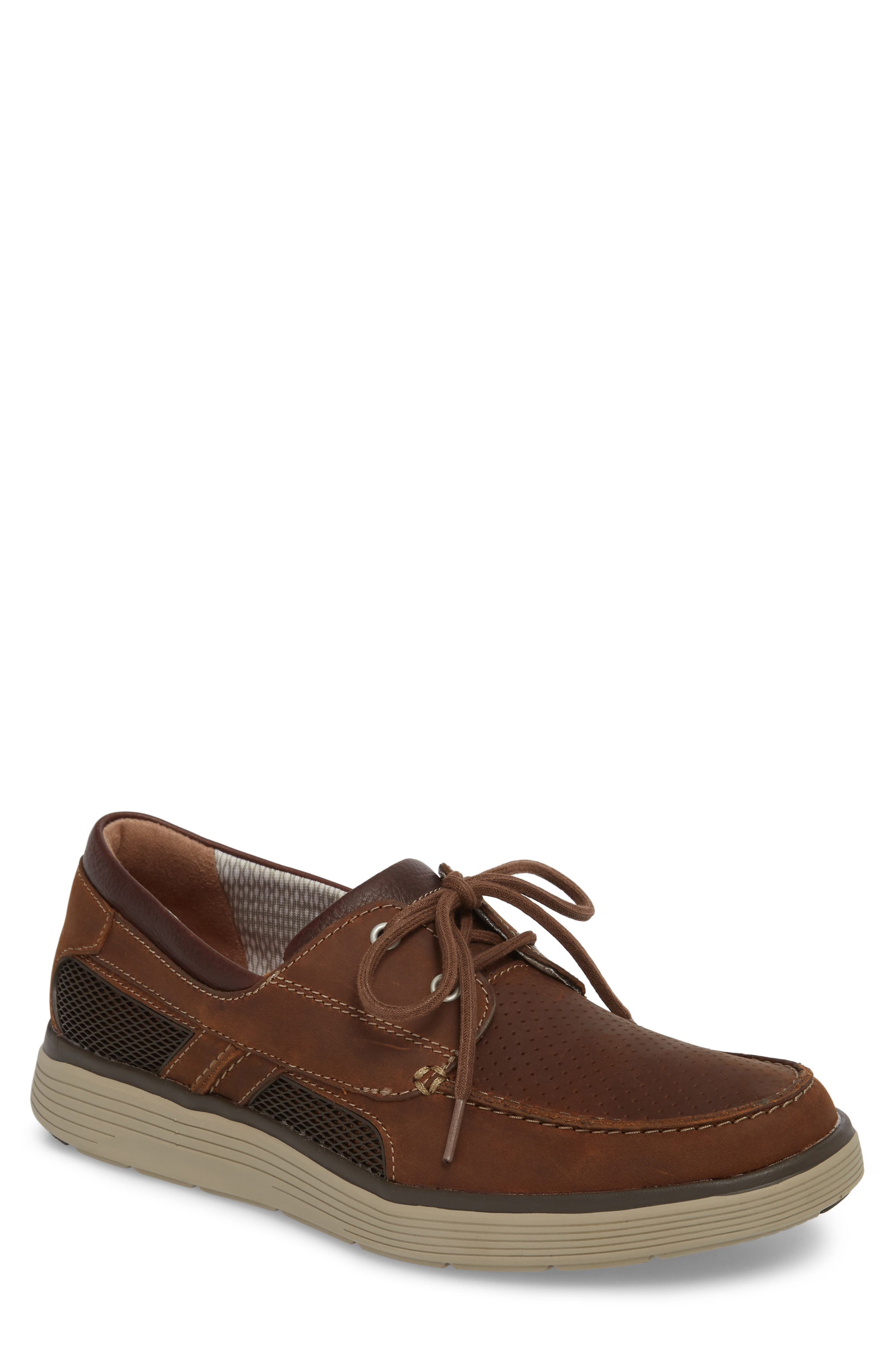 Clarks<sup>®</sup> Unabobe Step Boat Shoe,                             Main thumbnail 1, color,                             DARK TAN LEATHER