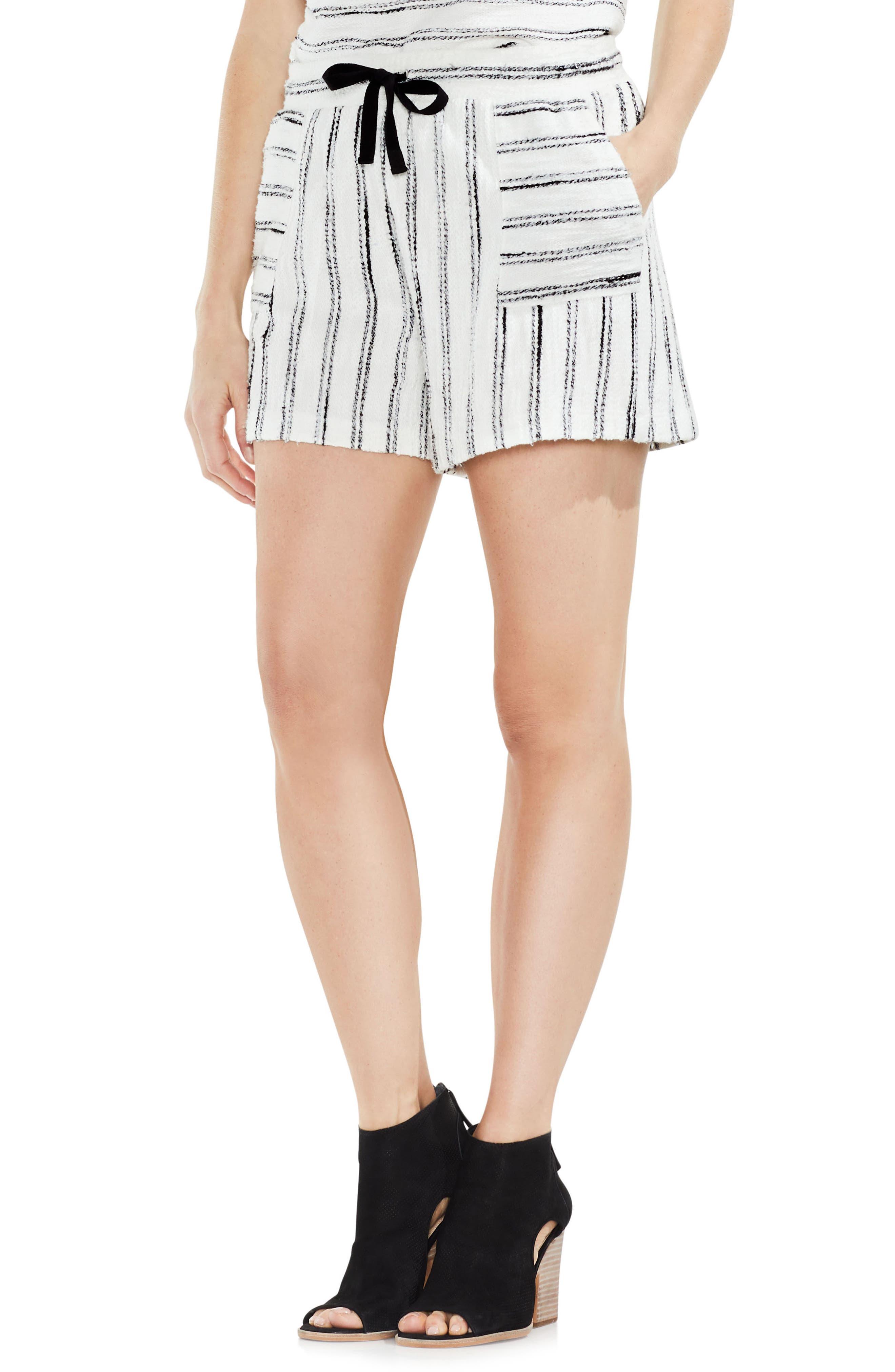 Drawstring Stripe Cotton Blend Shorts,                             Main thumbnail 1, color,                             006