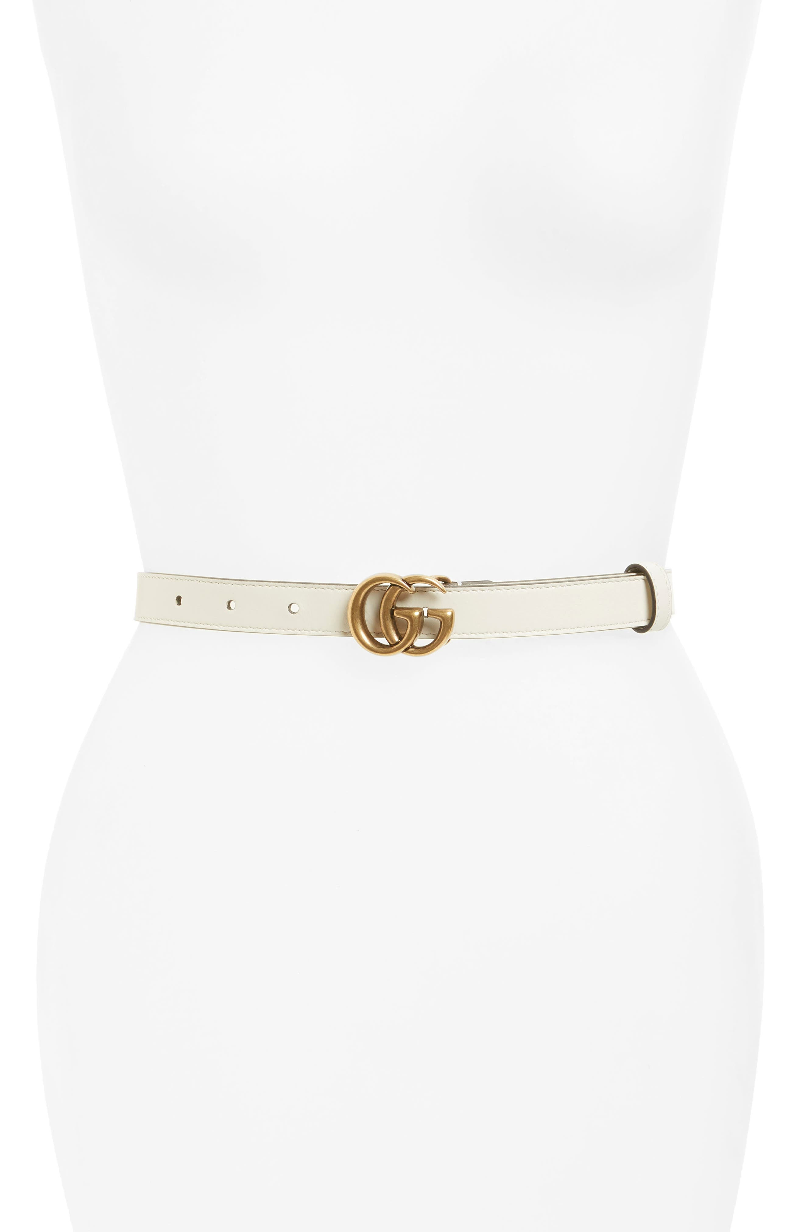 Double-G Buckle Calfskin Belt,                         Main,                         color, MYSTIC WHITE