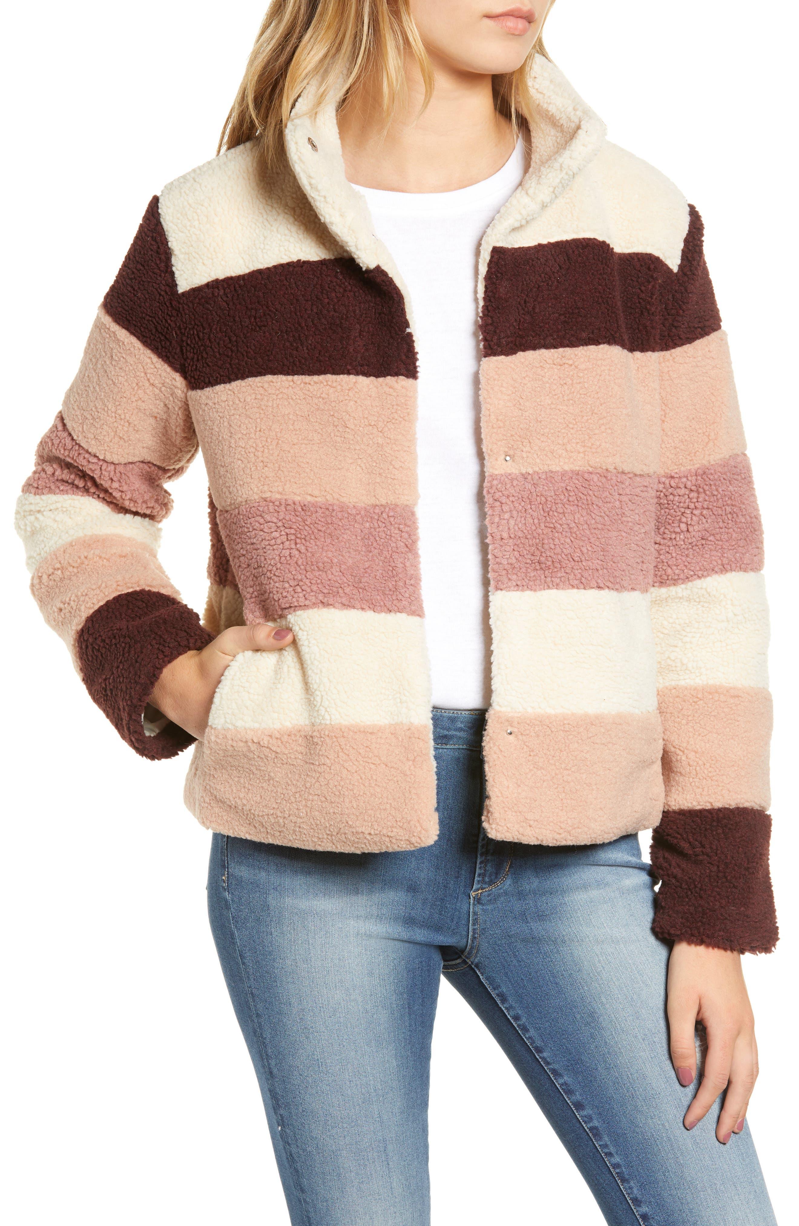 Stripe Faux Shearling Jacket,                             Main thumbnail 1, color,                             IVORY EGRET MUTLI STRIPE