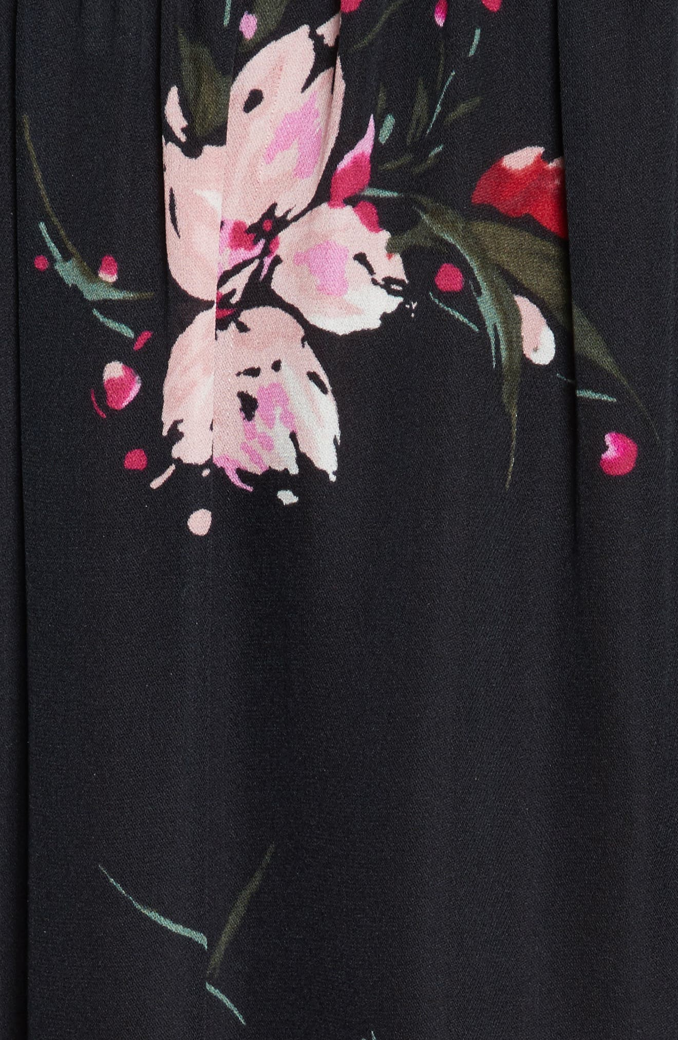 Kennon Ruched Sleeve Ruffle Hem Silk Top,                             Alternate thumbnail 5, color,