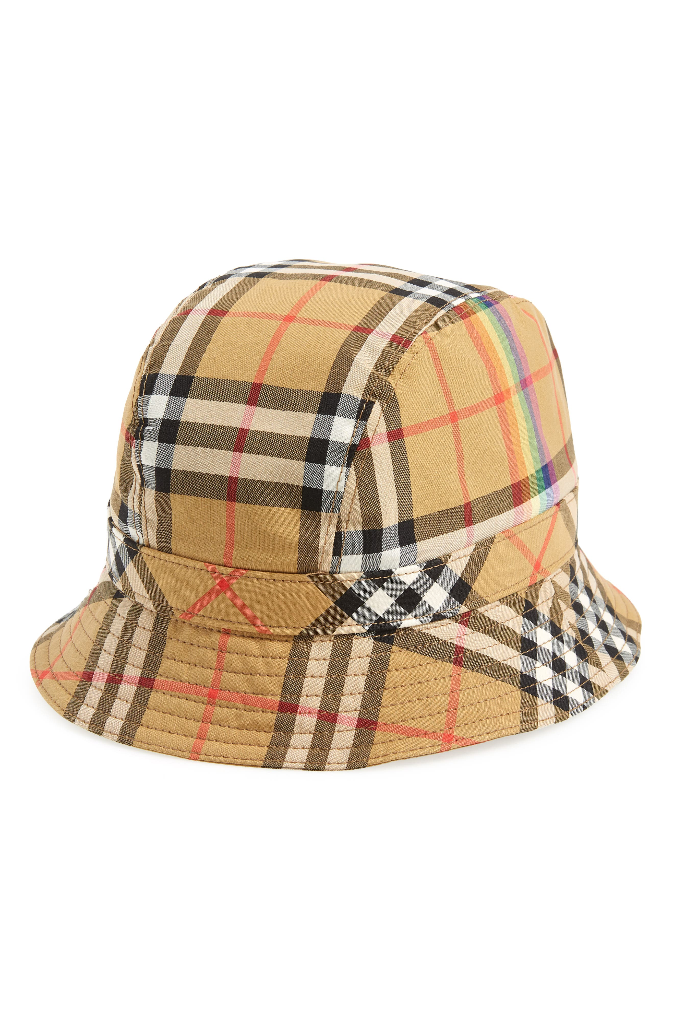 Rainbow Stripe Vintage Check Bucket Hat,                             Main thumbnail 1, color,                             ANTIQUE YELLOW/ RAINBOW