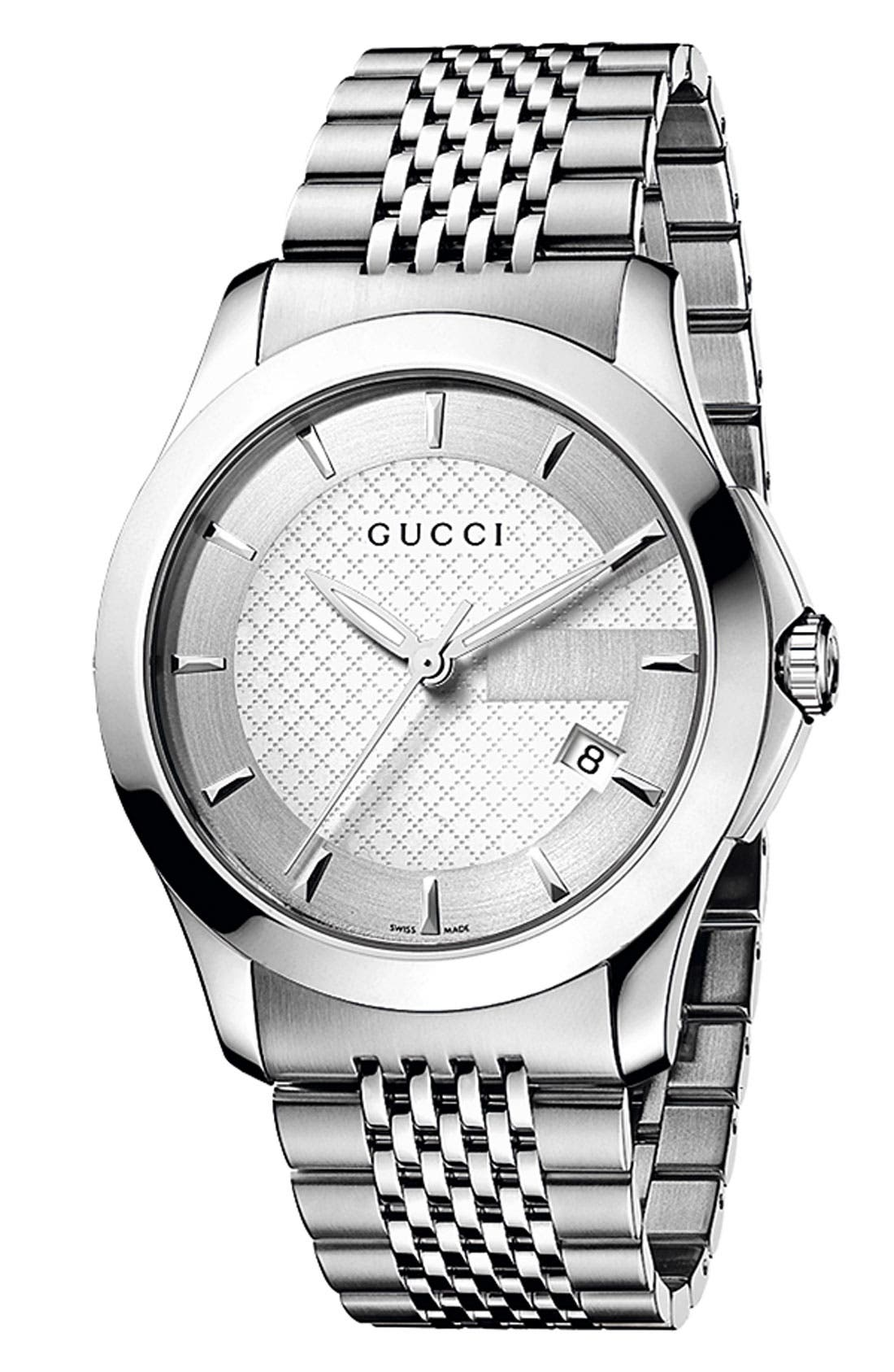 GUCCI 'G Timeless' Stainless Steel Bracelet Watch, 38mm, Main, color, 040