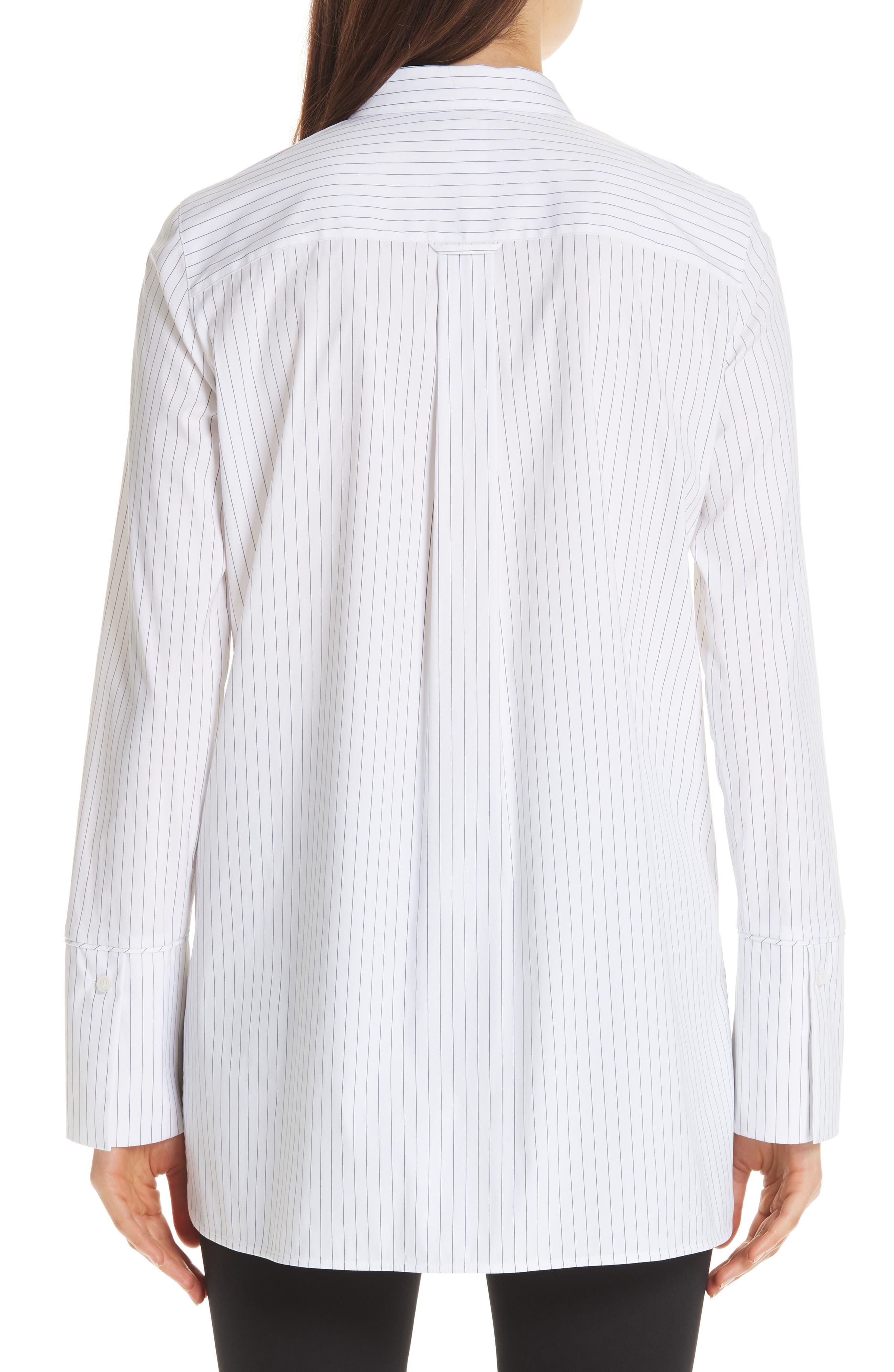 Annaleise Contrast Tie Stanford Stripe Blouse,                             Alternate thumbnail 2, color,                             BLACK MULTI