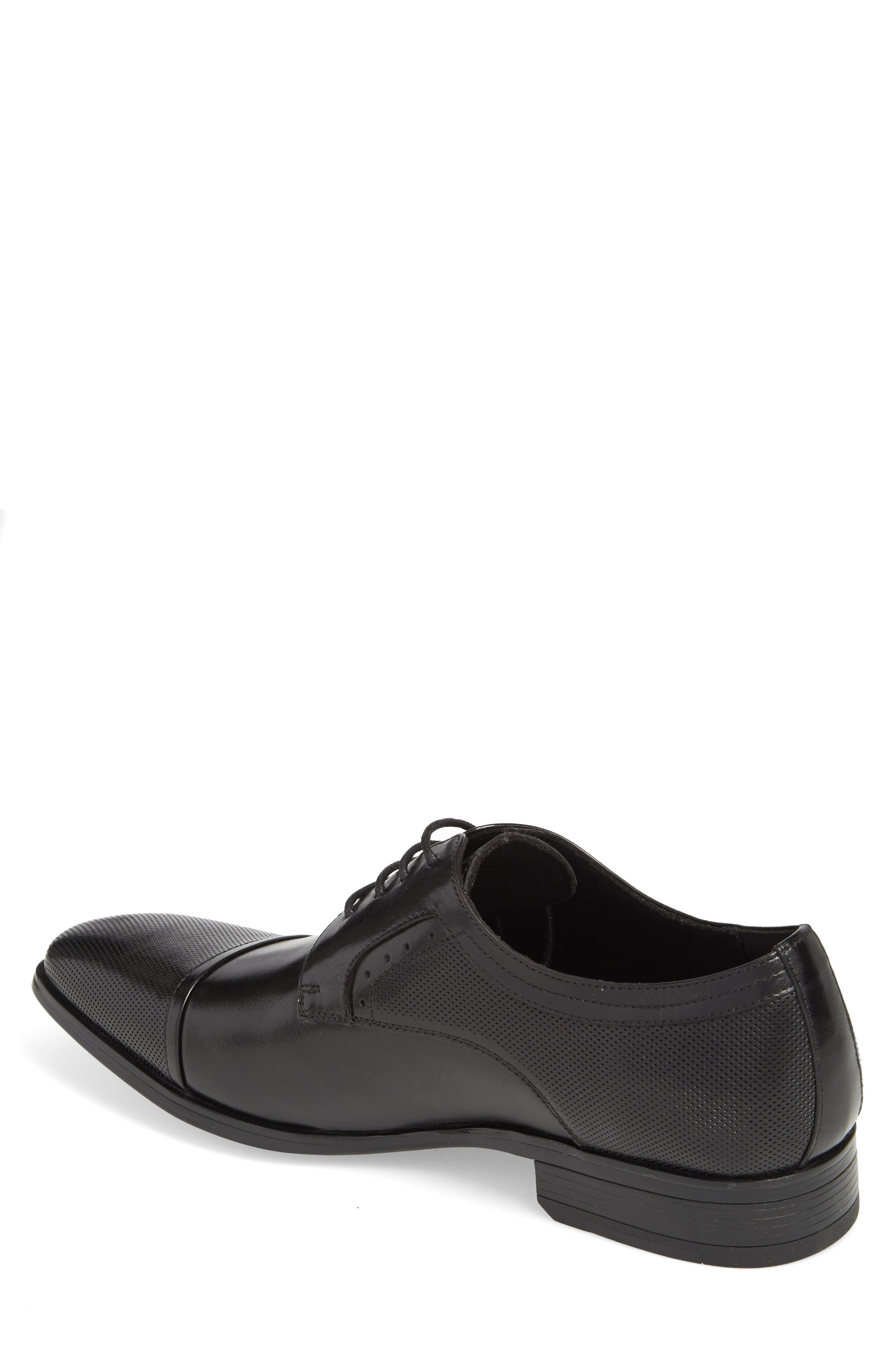 Embossed Cap Toe Derby,                             Alternate thumbnail 2, color,                             BLACK LEATHER