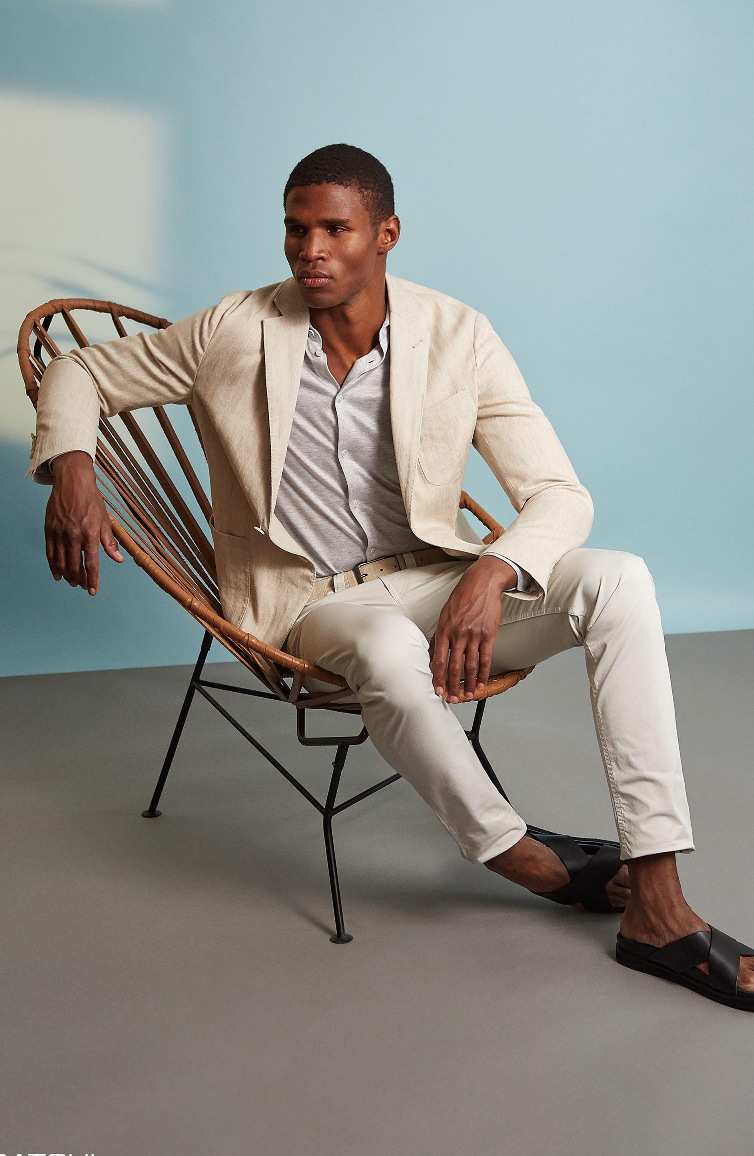 Regular Fit Herringbone Cotton & Linen Blazer,                             Alternate thumbnail 8, color,                             200