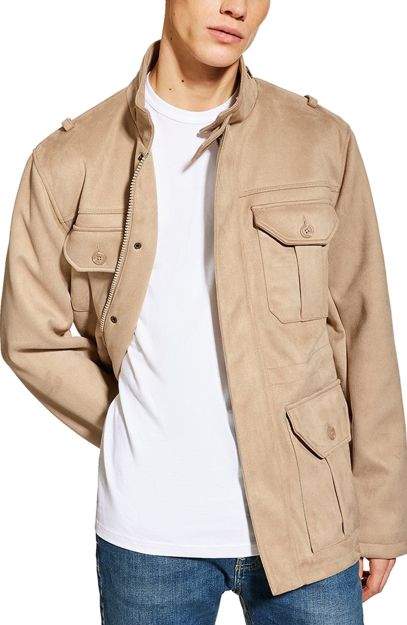 Topman Faux Suede Field Jacket, Beige