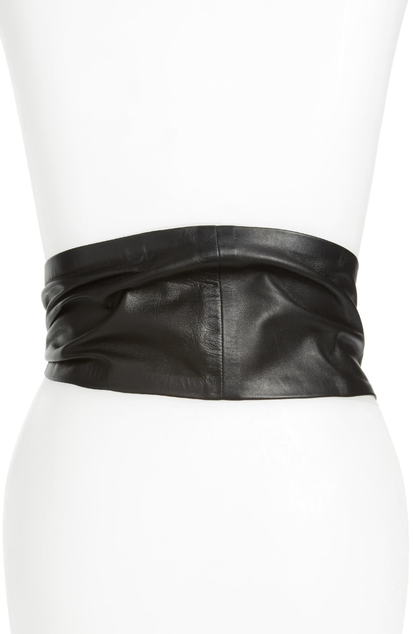Balacia Wide Lambskin Leather Belt,                             Alternate thumbnail 2, color,                             BLACK