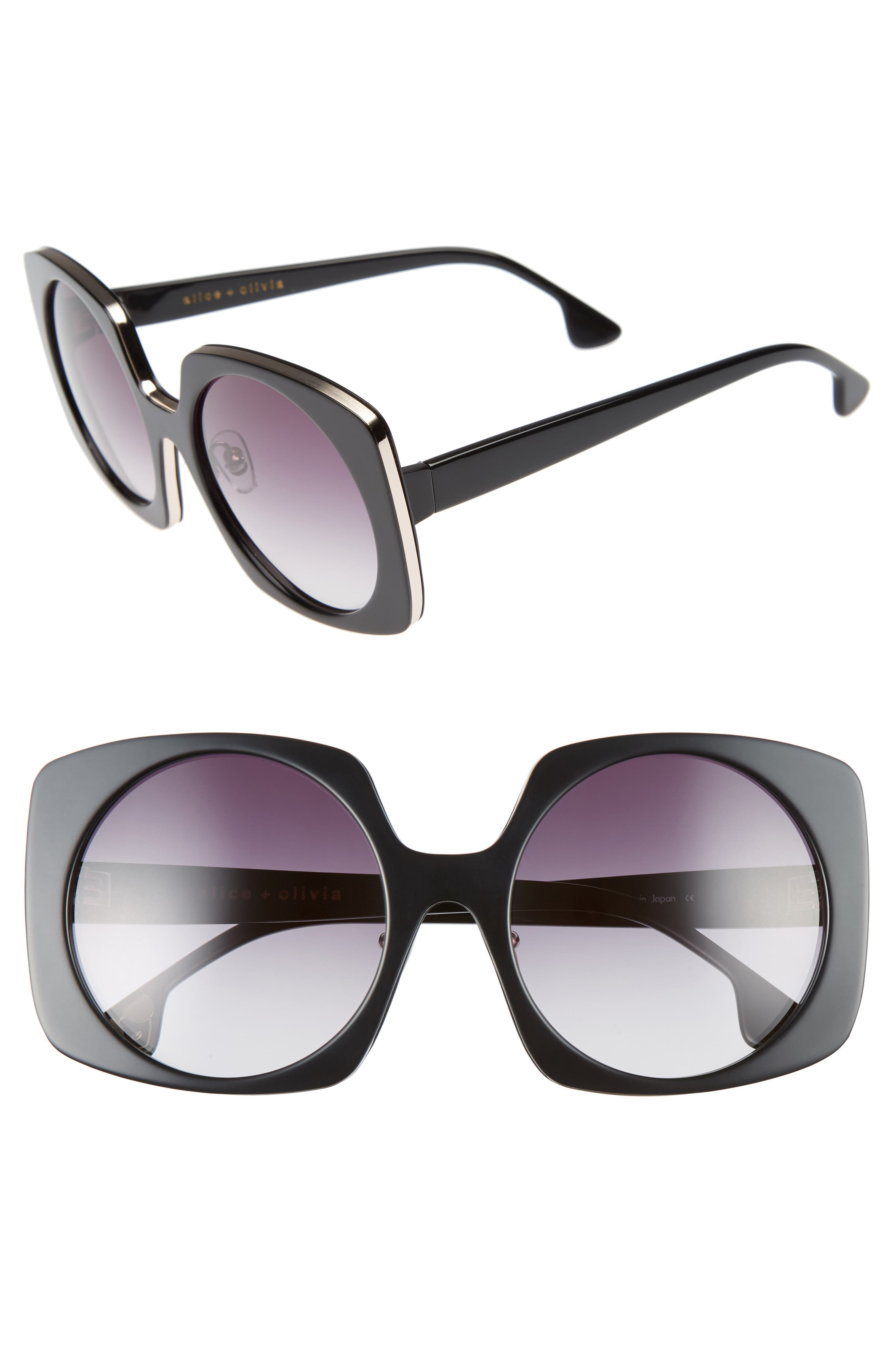 Canton 55mm Special Fit Square Sunglasses,                         Main,                         color, 001