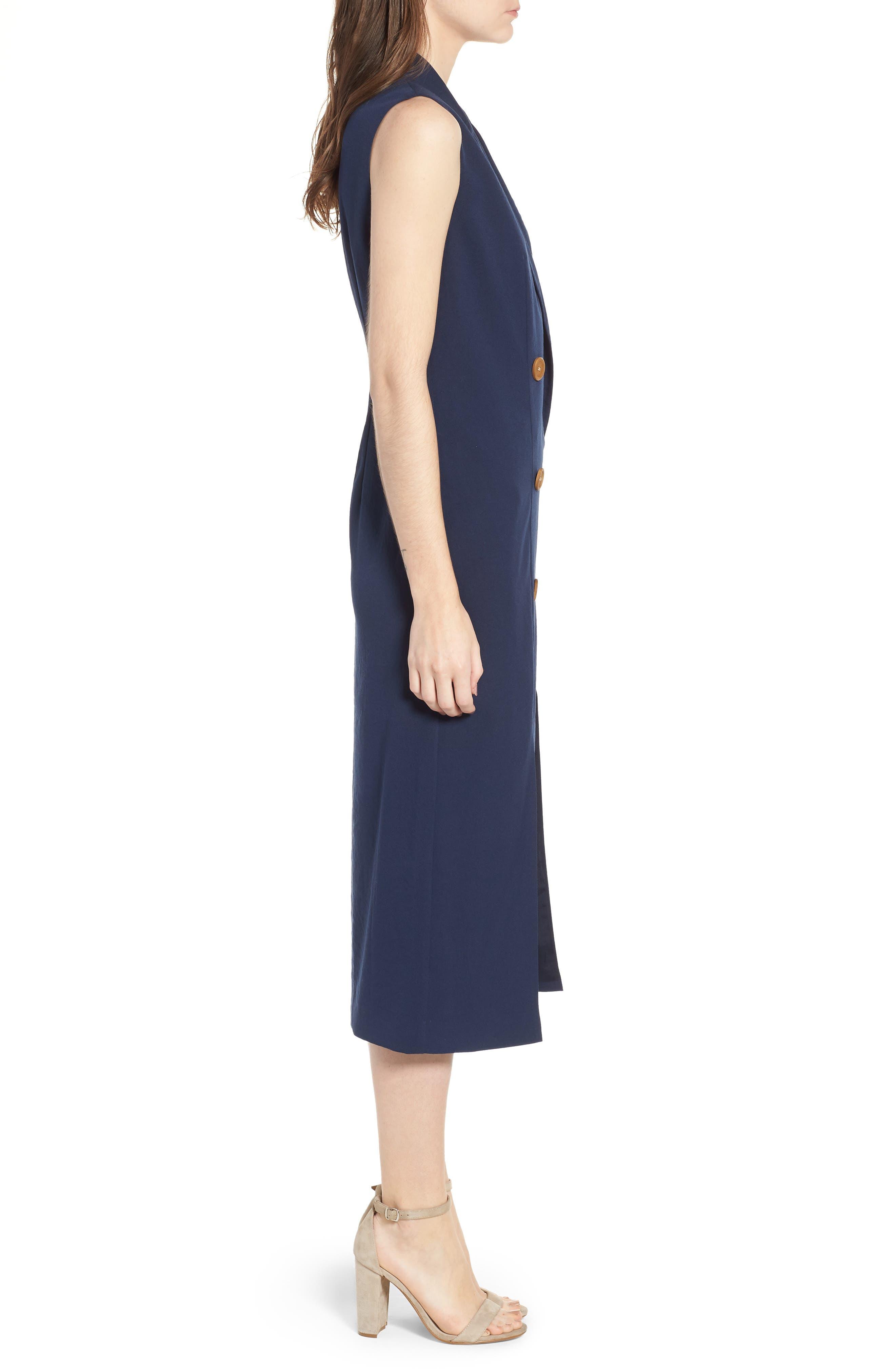 Brigitte Midi Dress,                             Alternate thumbnail 3, color,                             NAVY
