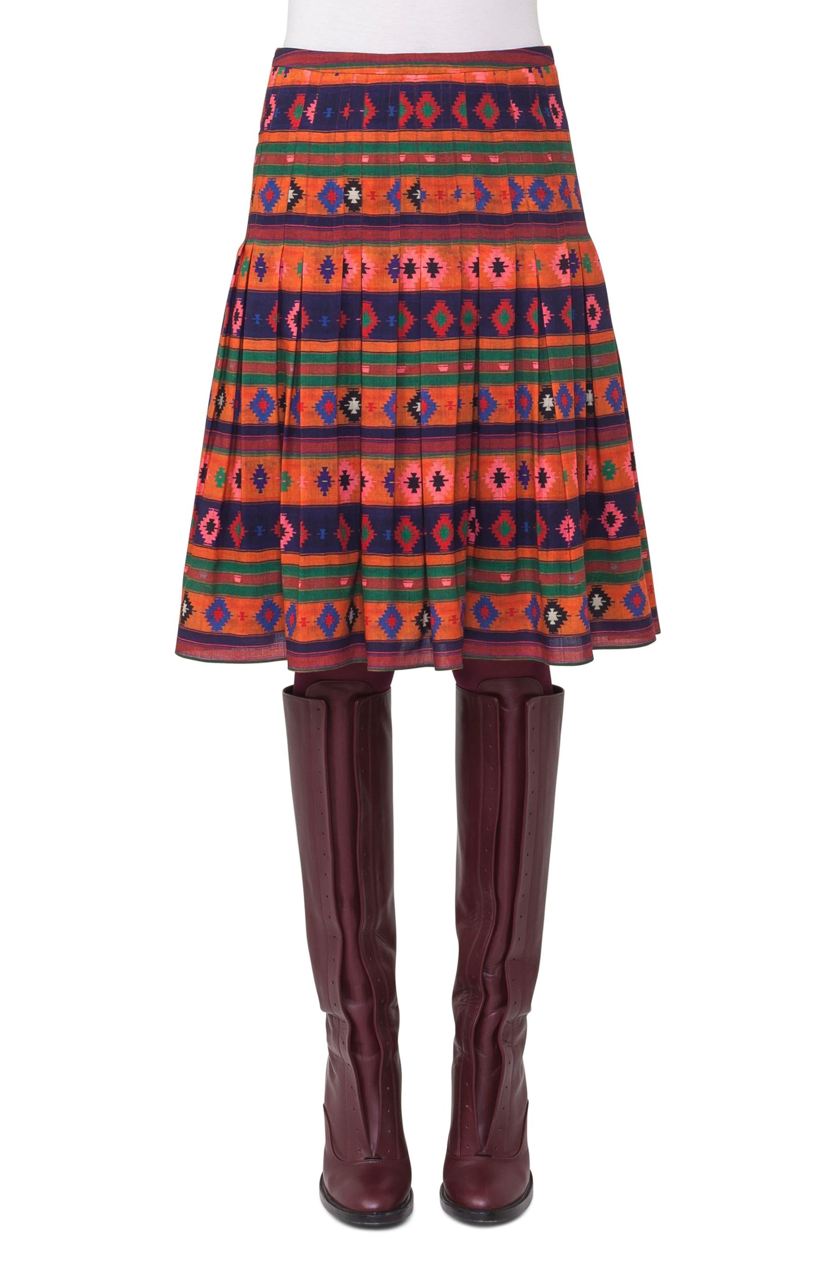 Print Wool Bell Skirt,                             Main thumbnail 1, color,