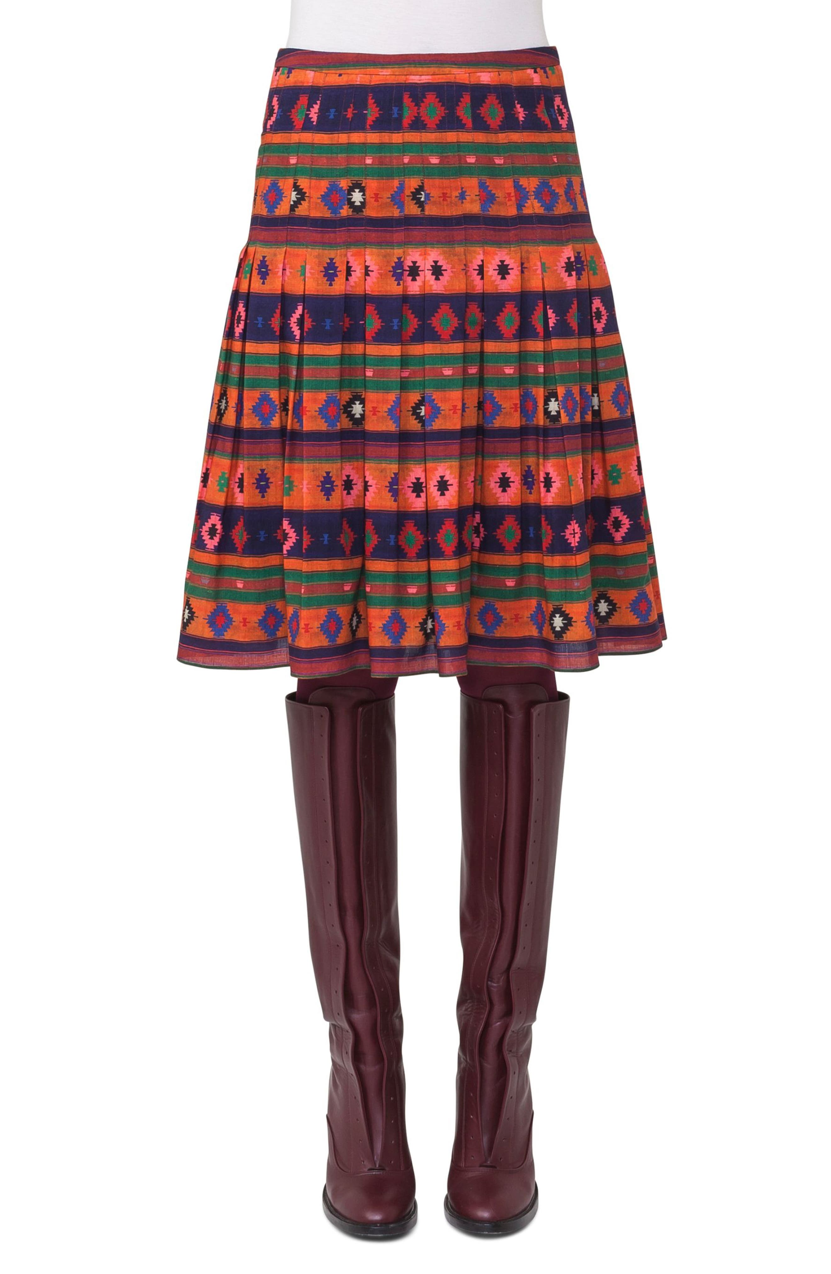 Print Wool Bell Skirt,                         Main,                         color,
