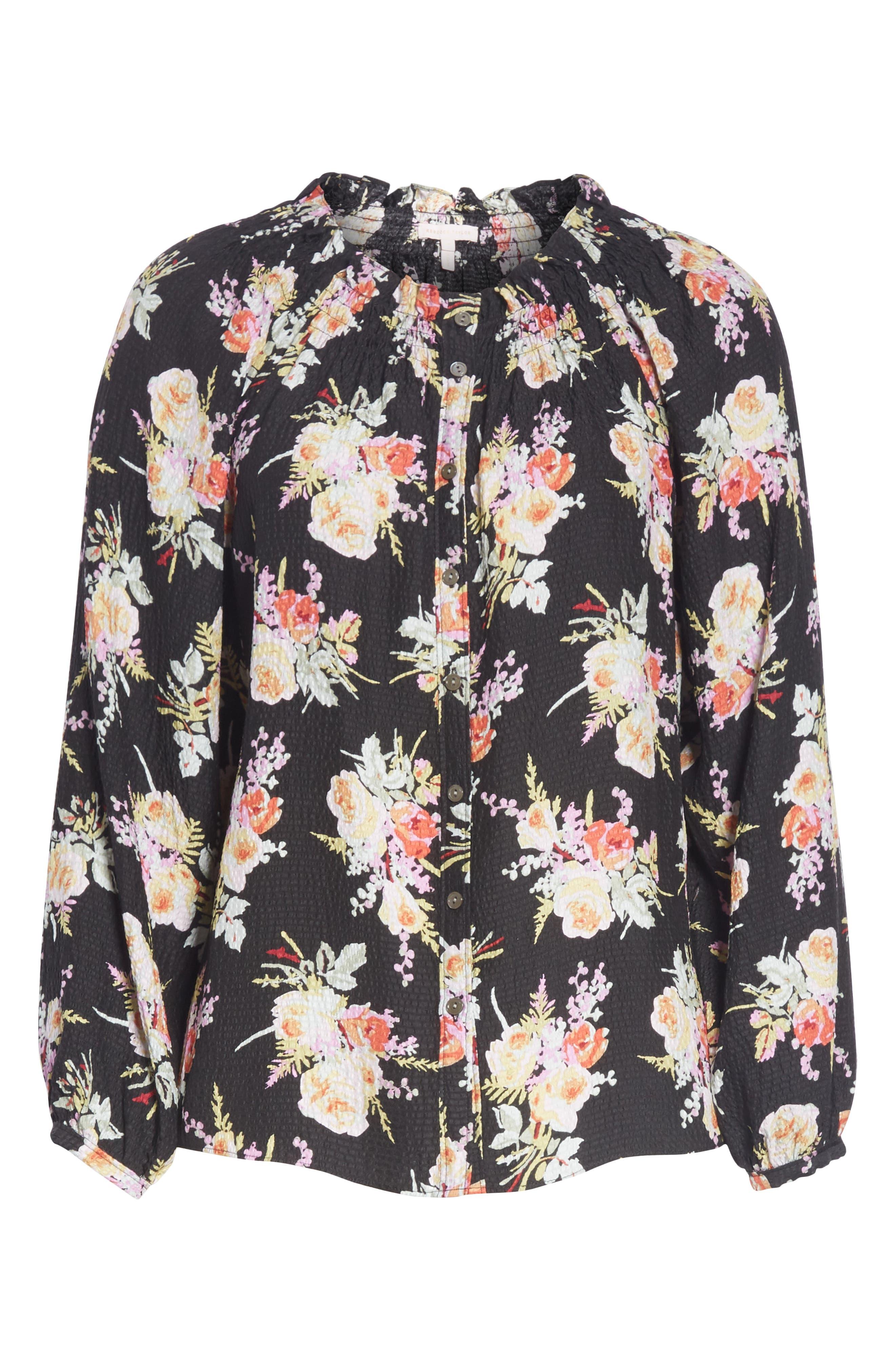 Floral Silk Blouse,                             Alternate thumbnail 6, color,                             BLACK COMBO