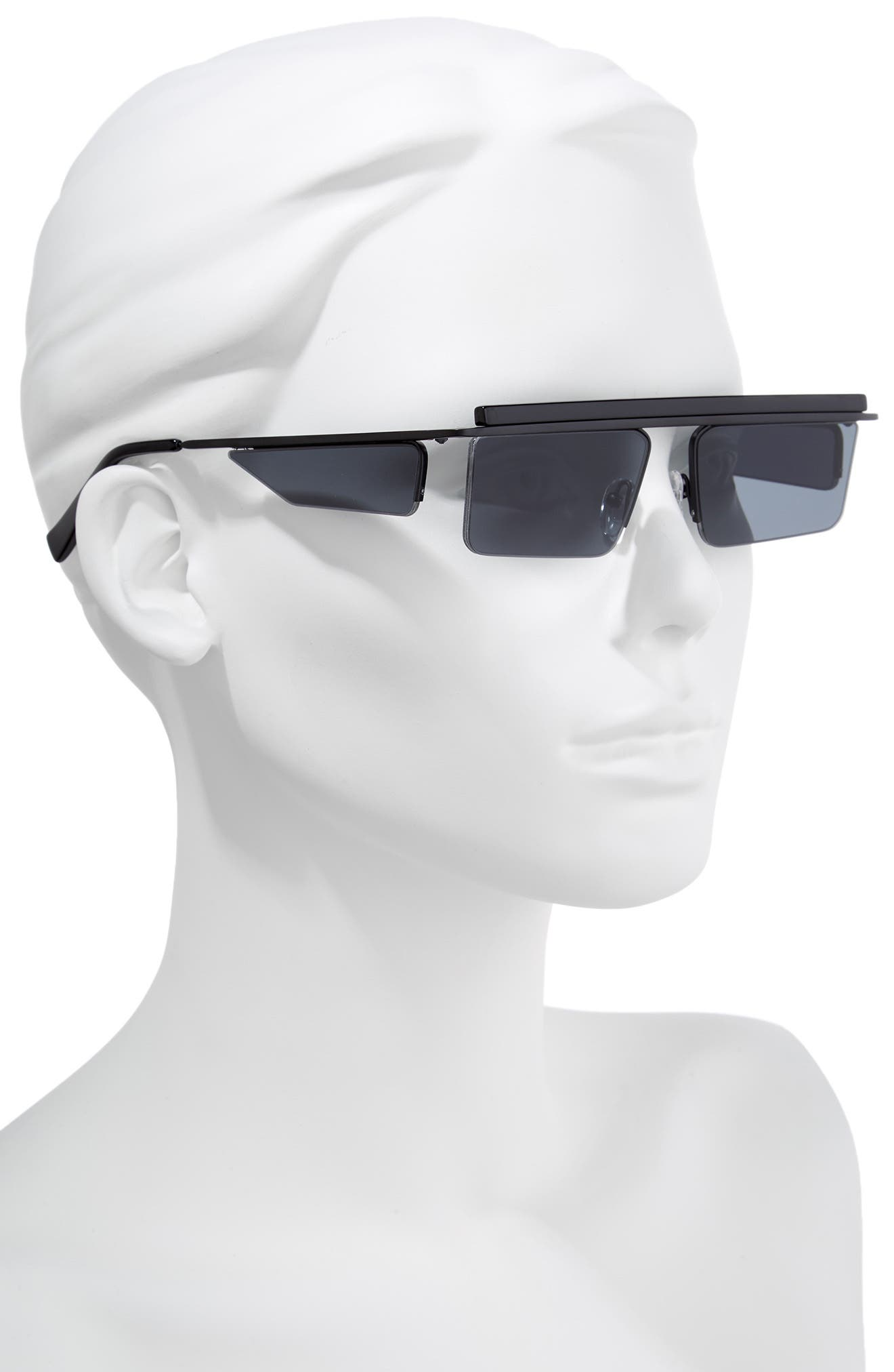 The Flex 55mm Semi Rimless Sunglasses,                             Alternate thumbnail 3, color,                             SATIN BLACK
