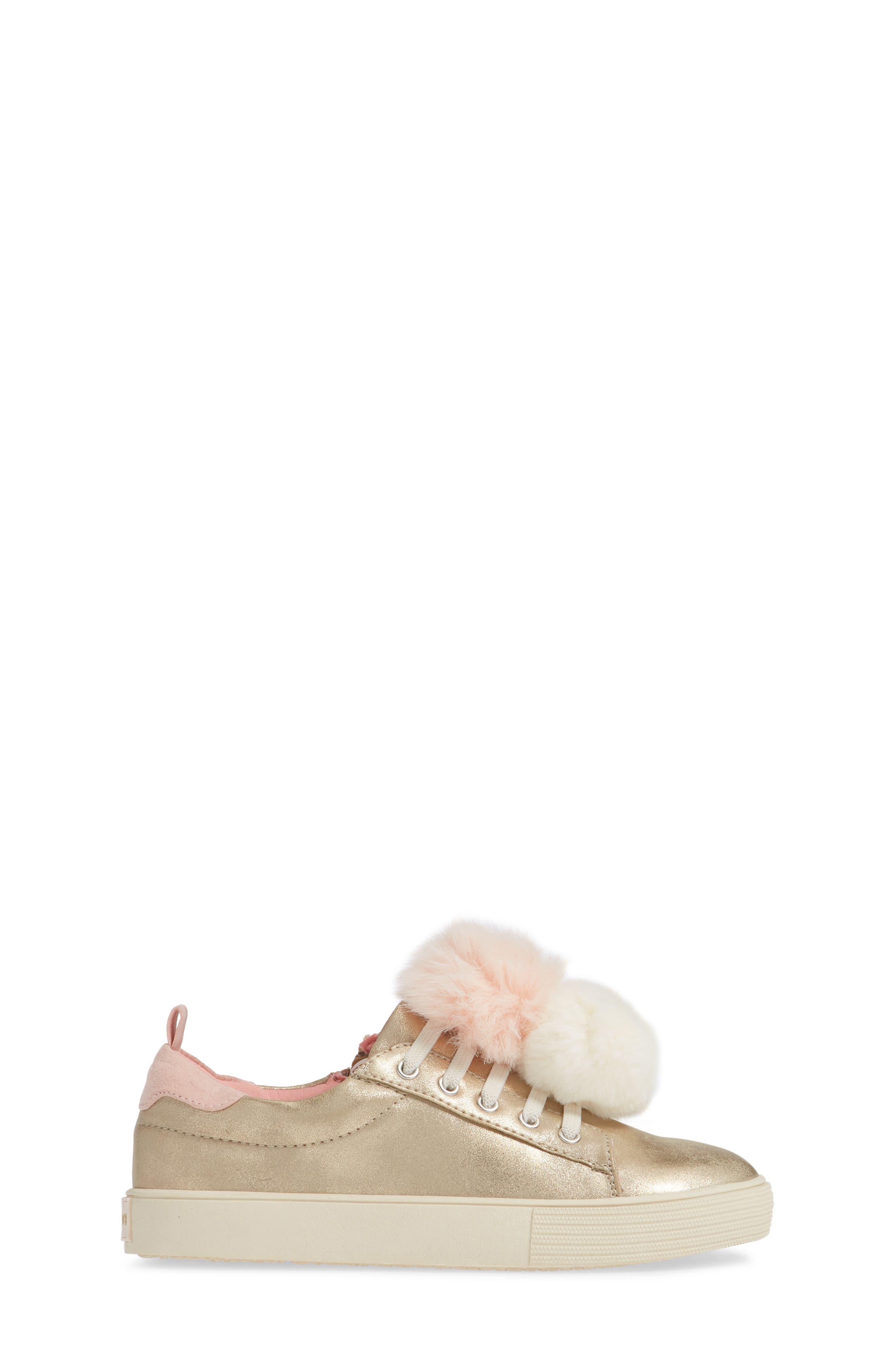 Millie Metallic Pom Sneaker,                             Alternate thumbnail 3, color,                             GOLD METALLIC FAUX LEATHER