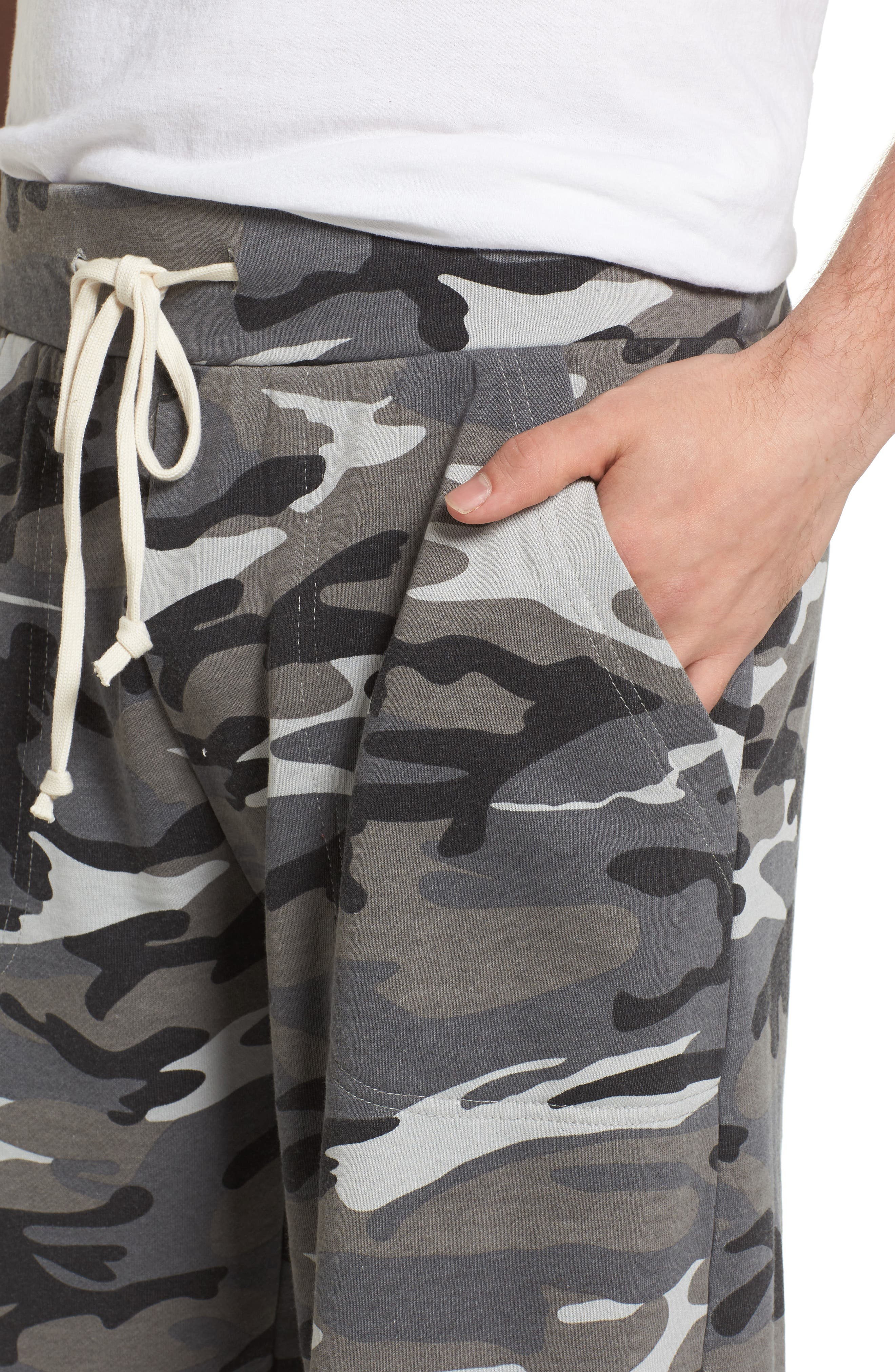 'Victory' Camo French Terry Knit Cutoff Shorts,                             Alternate thumbnail 4, color,                             020