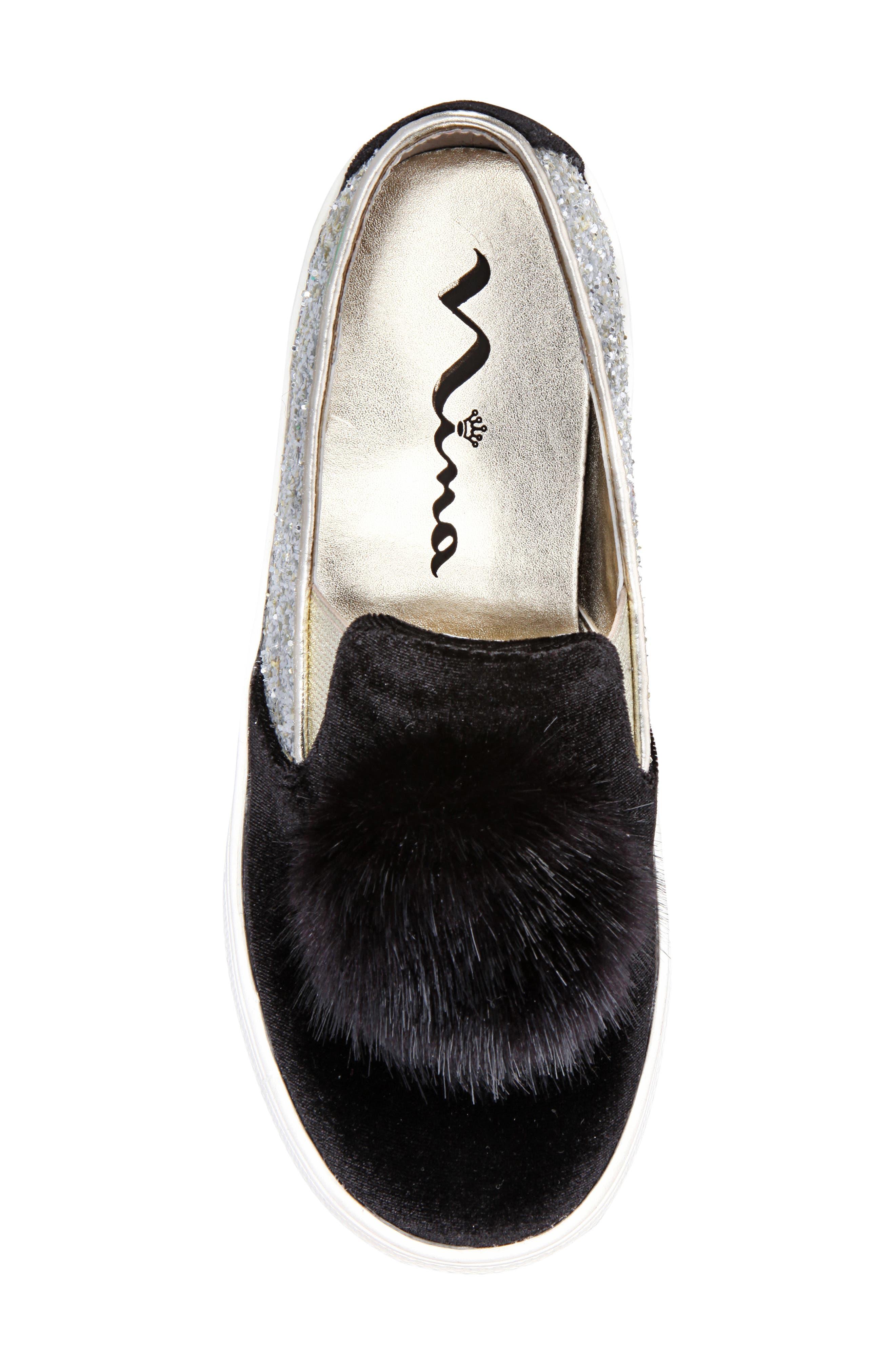 Hannie Glitter Pom Slip-On Sneaker,                             Alternate thumbnail 5, color,                             BLACK CHUNKY GLITTER/ VELVET
