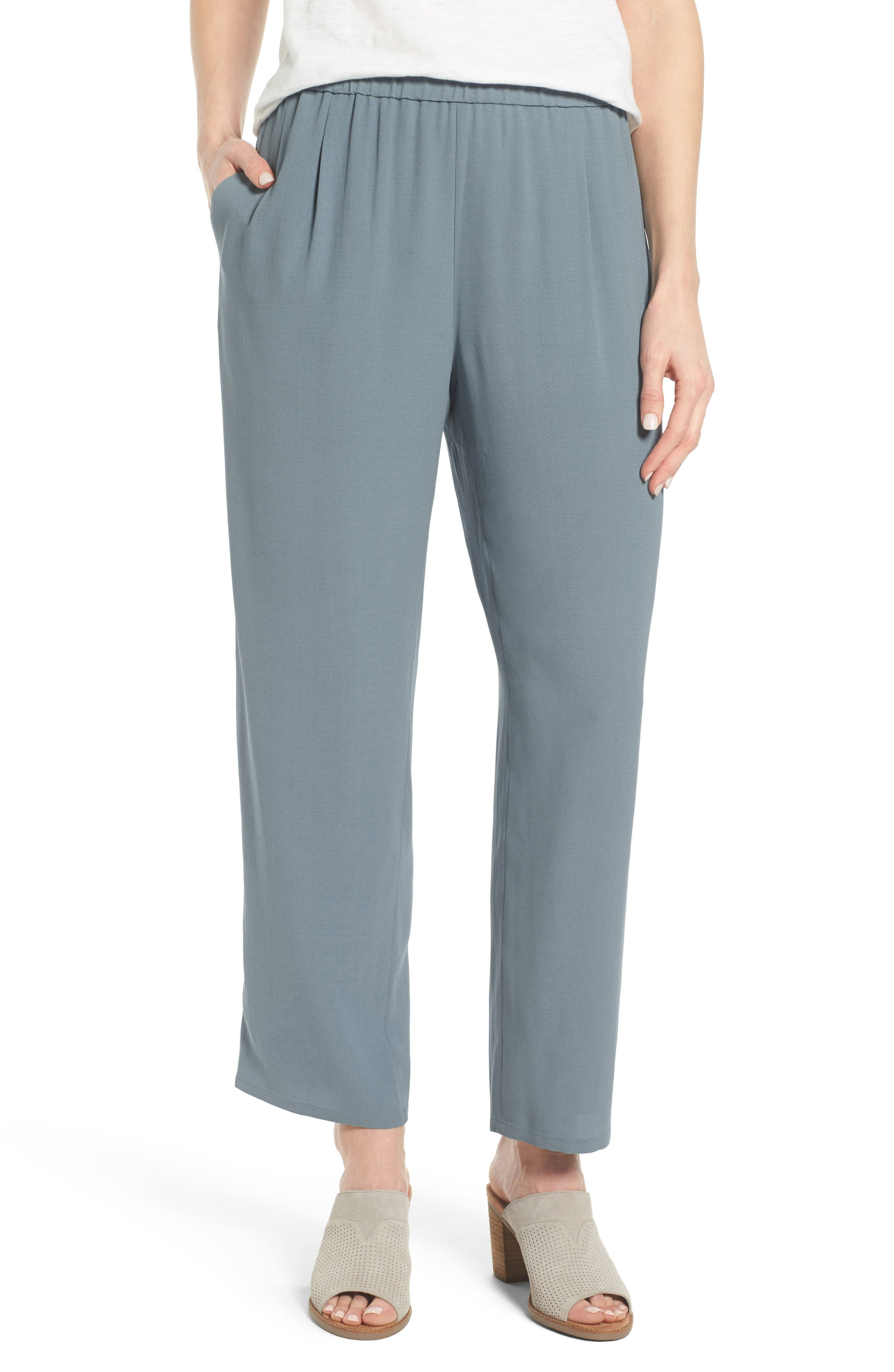 Silk Georgette Crepe Straight Ankle Pants,                             Main thumbnail 5, color,