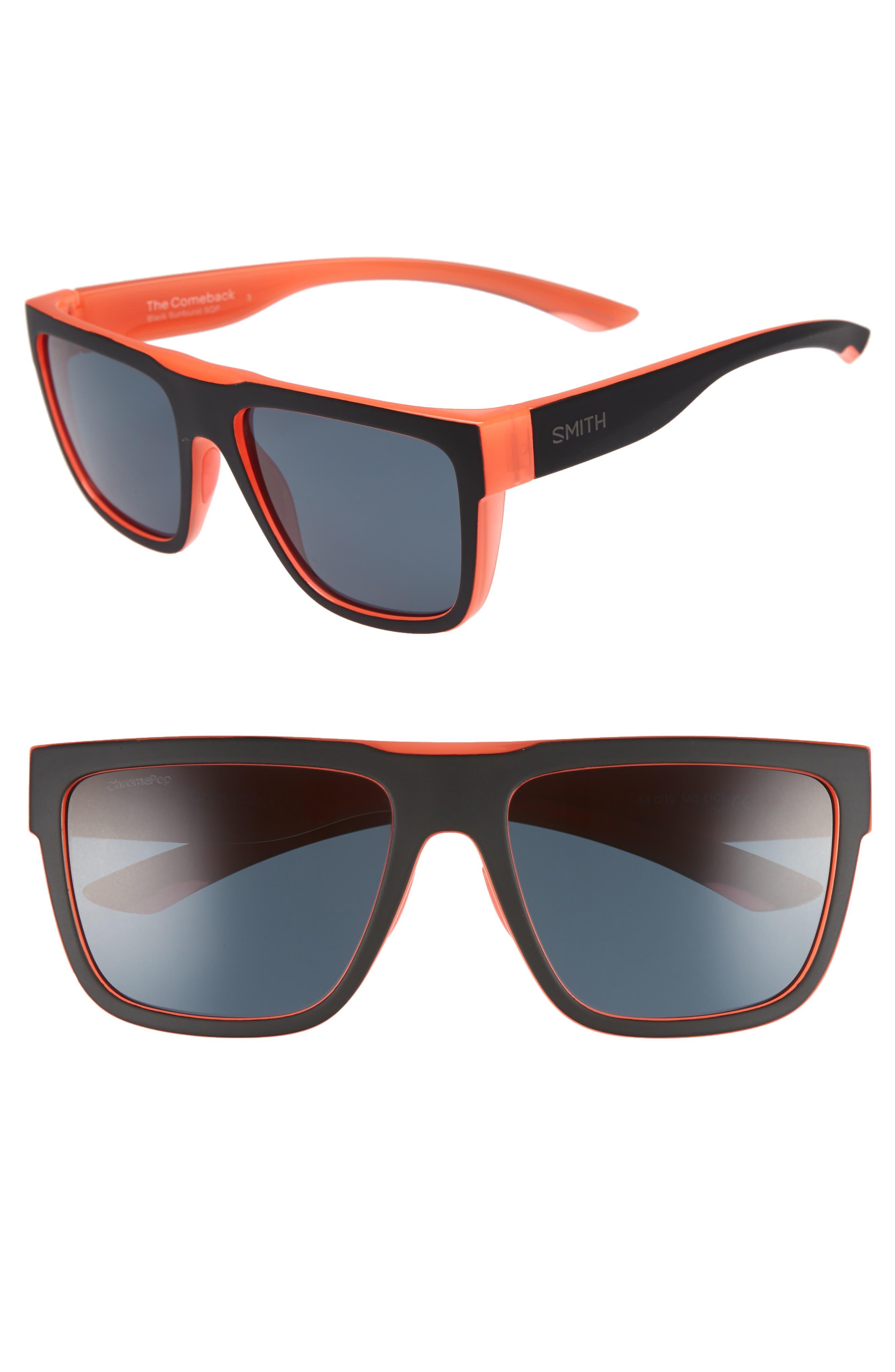 The Comeback 58mm ChromaPop<sup>™</sup> Square Sunglasses,                             Main thumbnail 1, color,                             BLACK/ SUNBURST