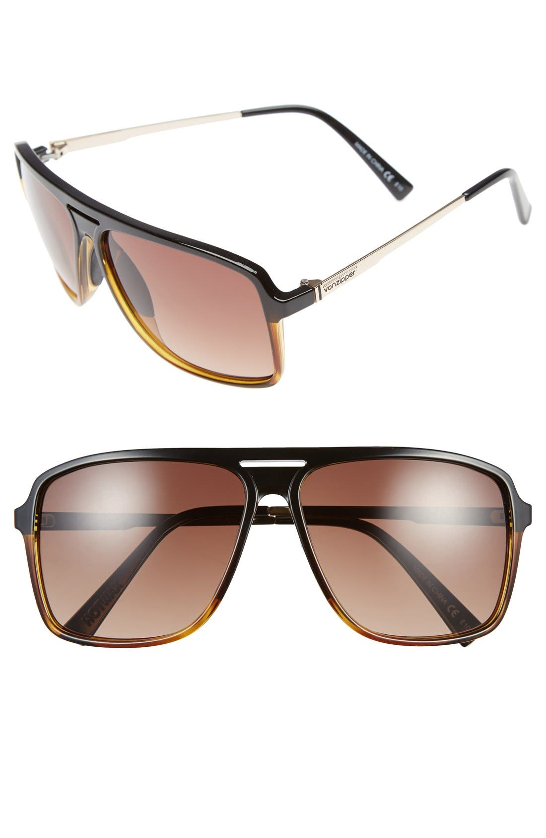 'Hotwax' 60mm Navigator Sunglasses,                             Main thumbnail 1, color,                             003