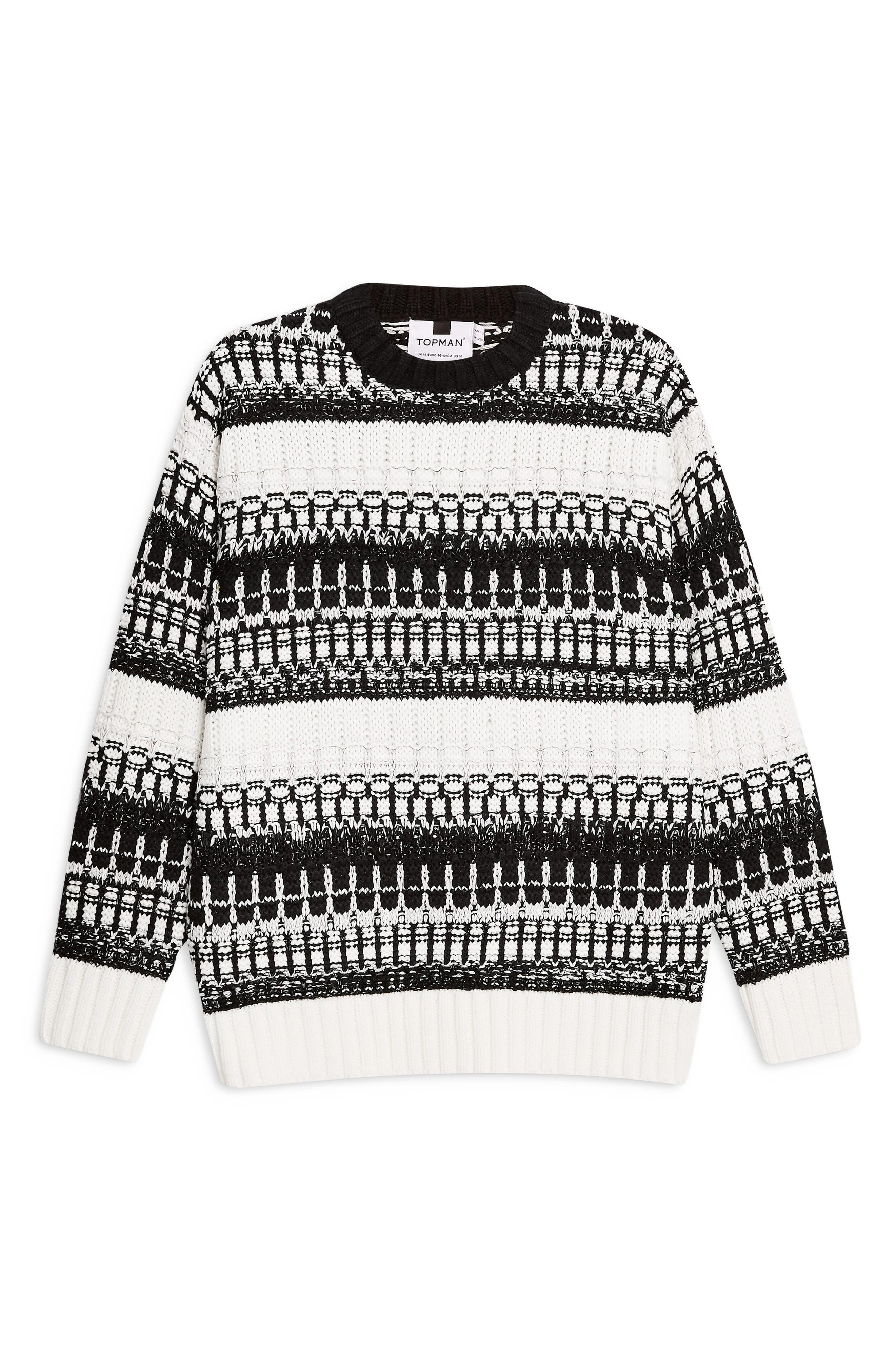 TOPMAN,                             Mono Texture Sweater,                             Alternate thumbnail 3, color,                             CREAM MULTI