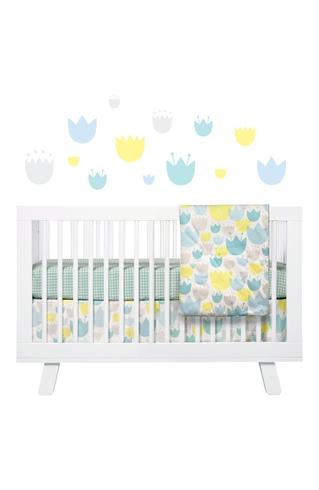 'Garden' Crib Sheet, Crib Skirt, Play Blanket, Changing Pad Cover, Stroller Blanket & Wall Decals,                         Main,                         color, BLUE