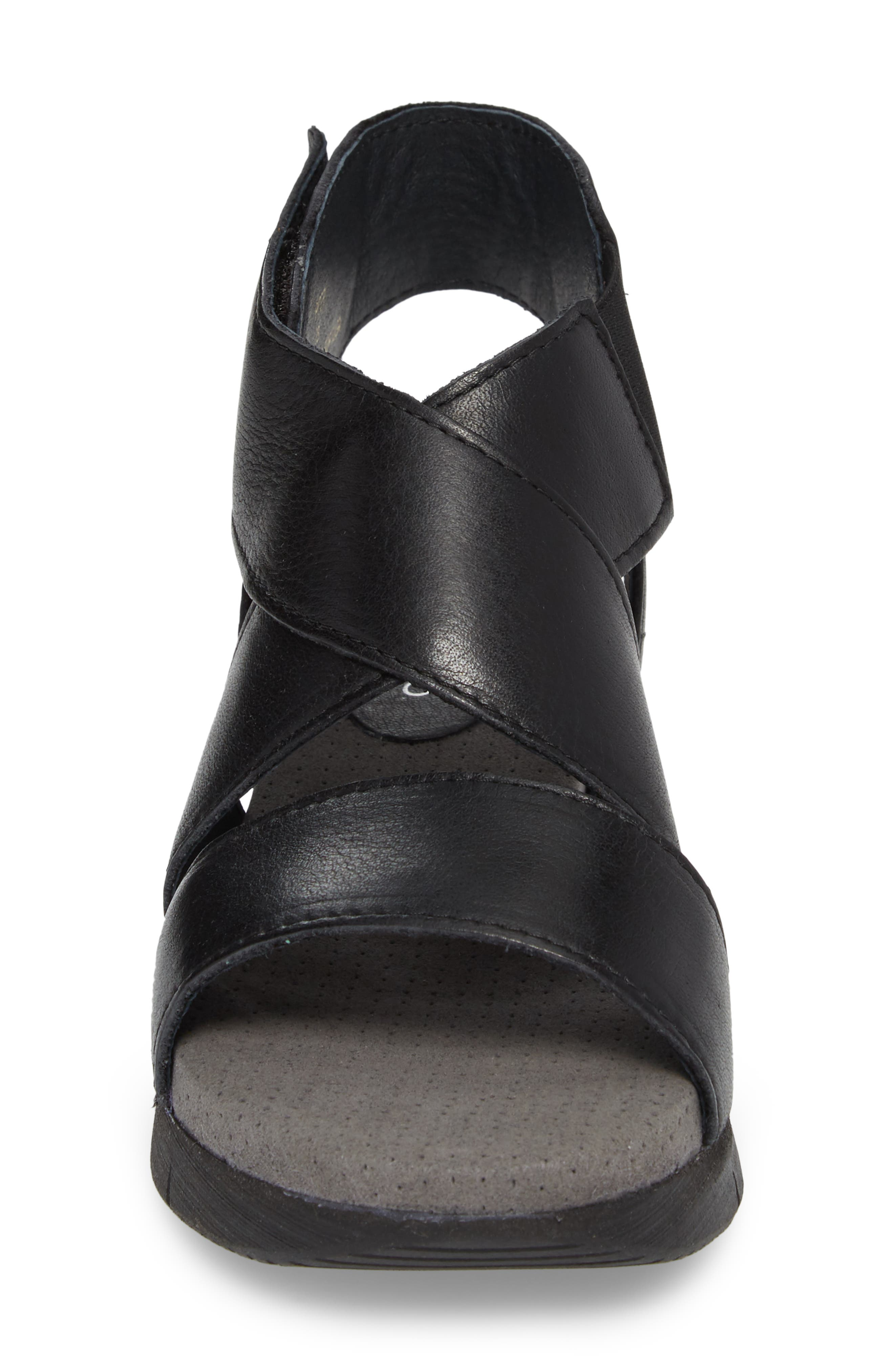 Piper Wedge Sandal,                             Alternate thumbnail 4, color,                             BLACK SAUVAGE LEATHER