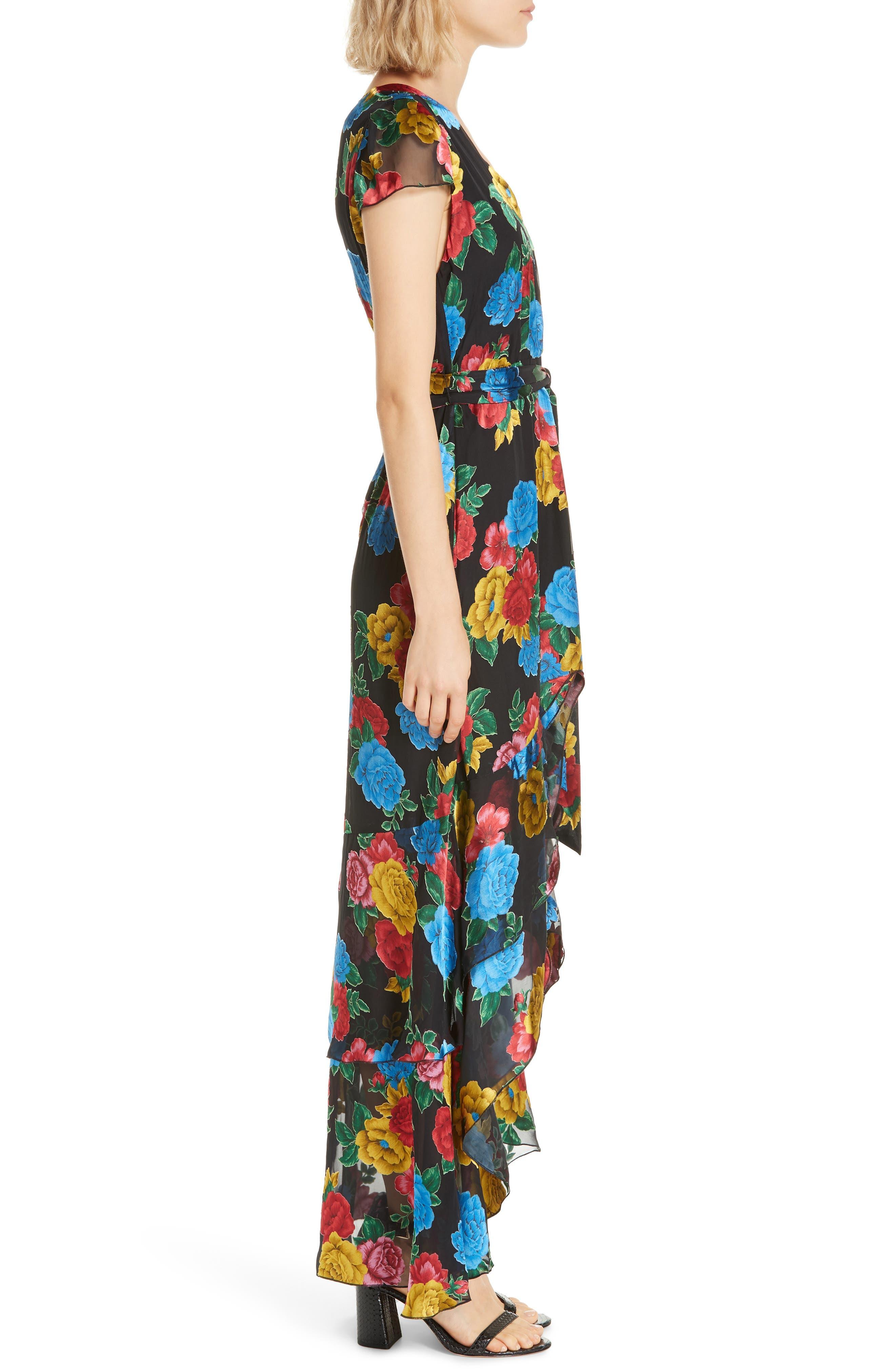 Erika Ruffle High/Low Midi Dress,                             Alternate thumbnail 3, color,                             CAMELLIA BOUQUET BLACK/ MULTI