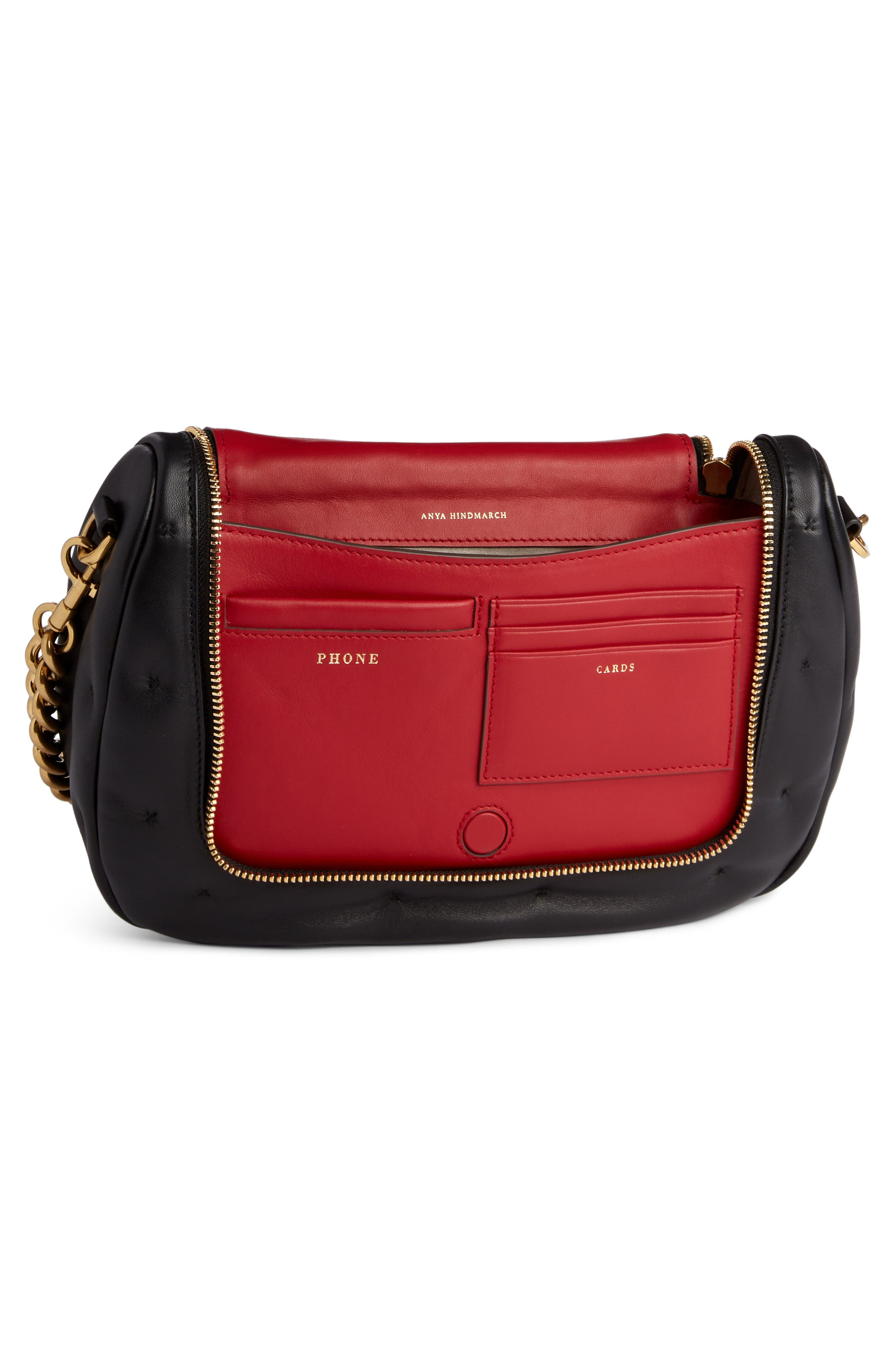 Small Vere Chubby Lambskin Leather Satchel,                             Alternate thumbnail 3, color,                             BLACK