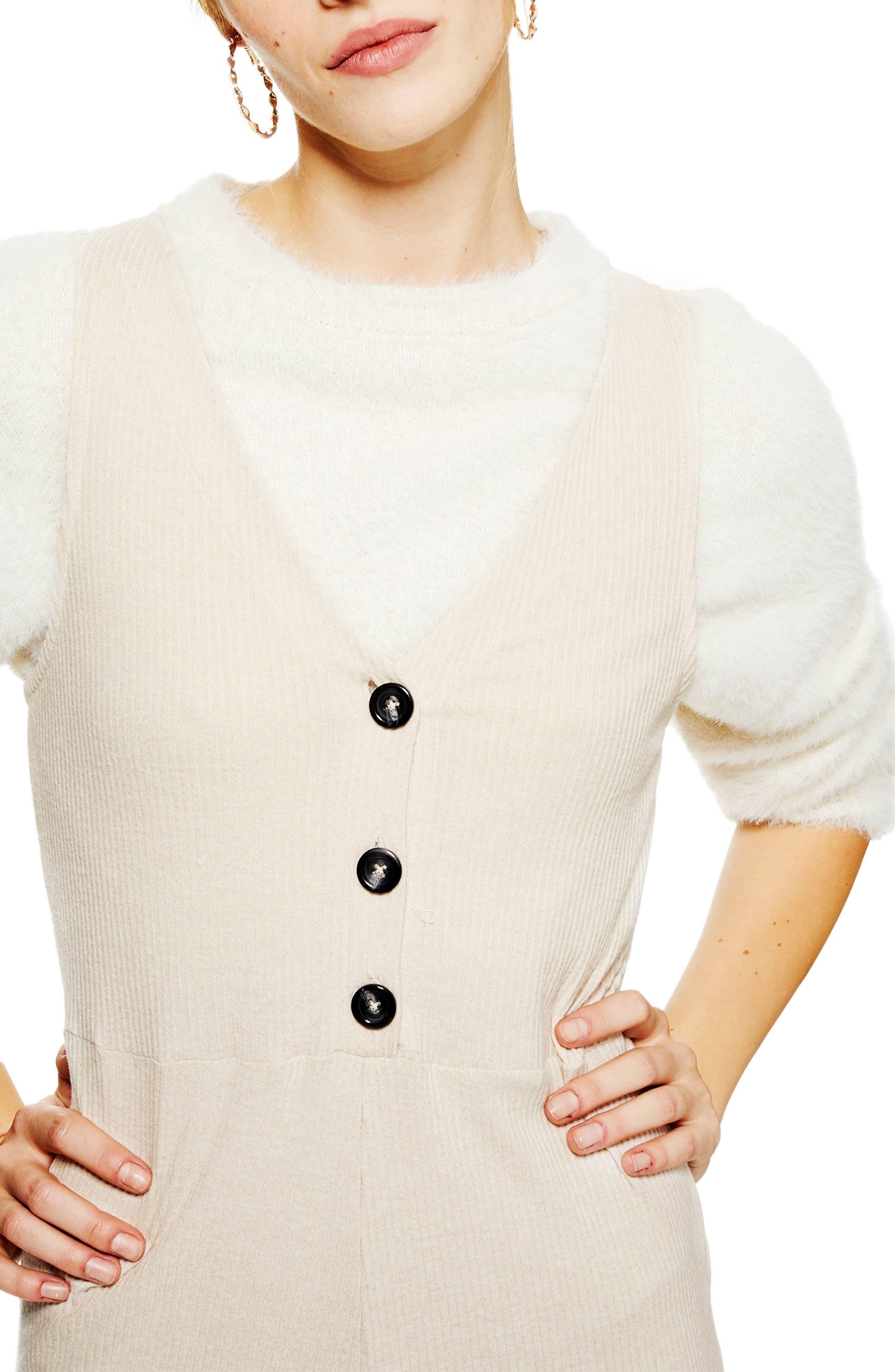 Button Front Jumpsuit,                             Alternate thumbnail 3, color,                             CREAM