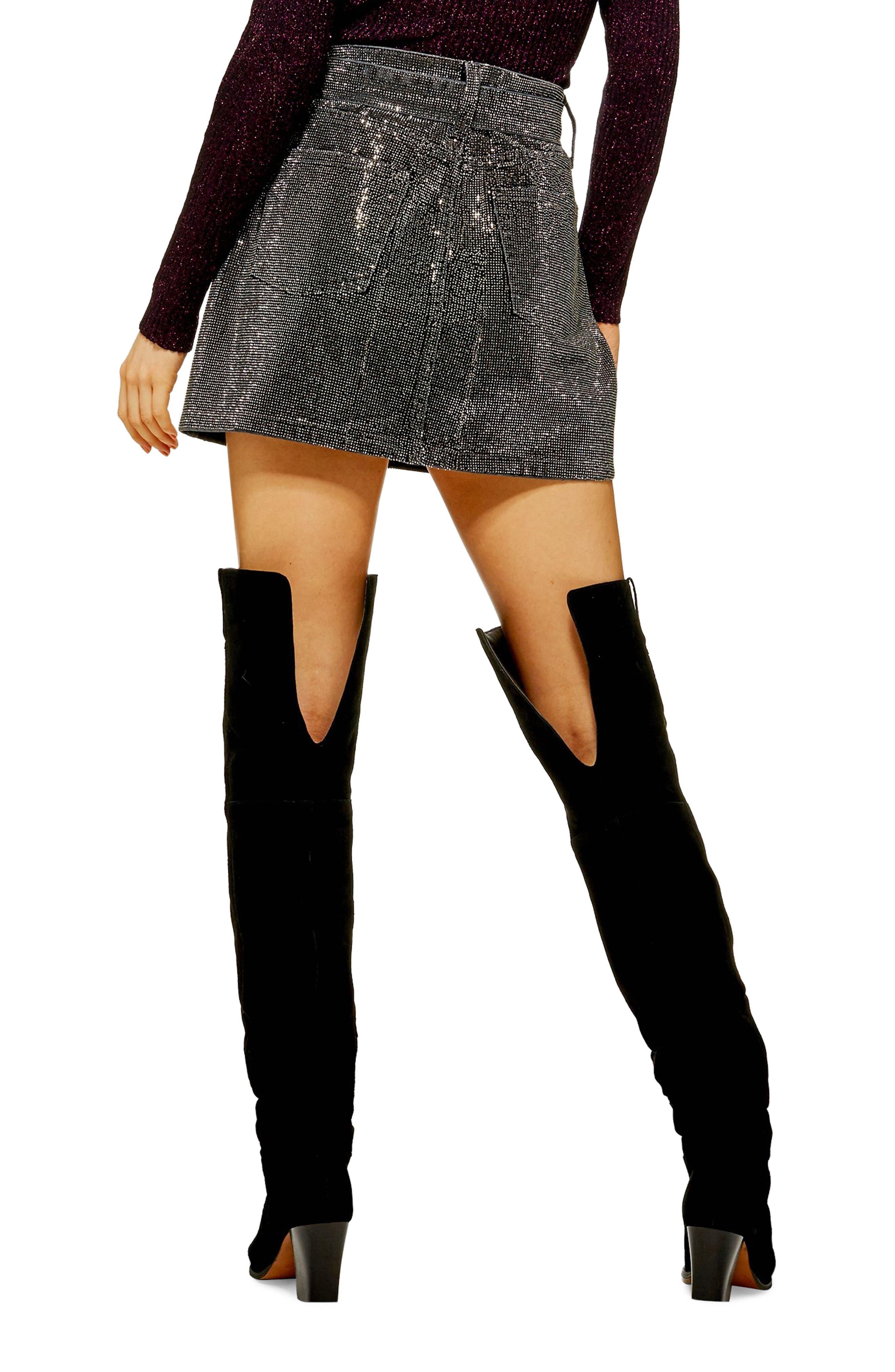 Crystal Pin Stud Denim Skirt,                             Alternate thumbnail 2, color,                             WASHED BLACK