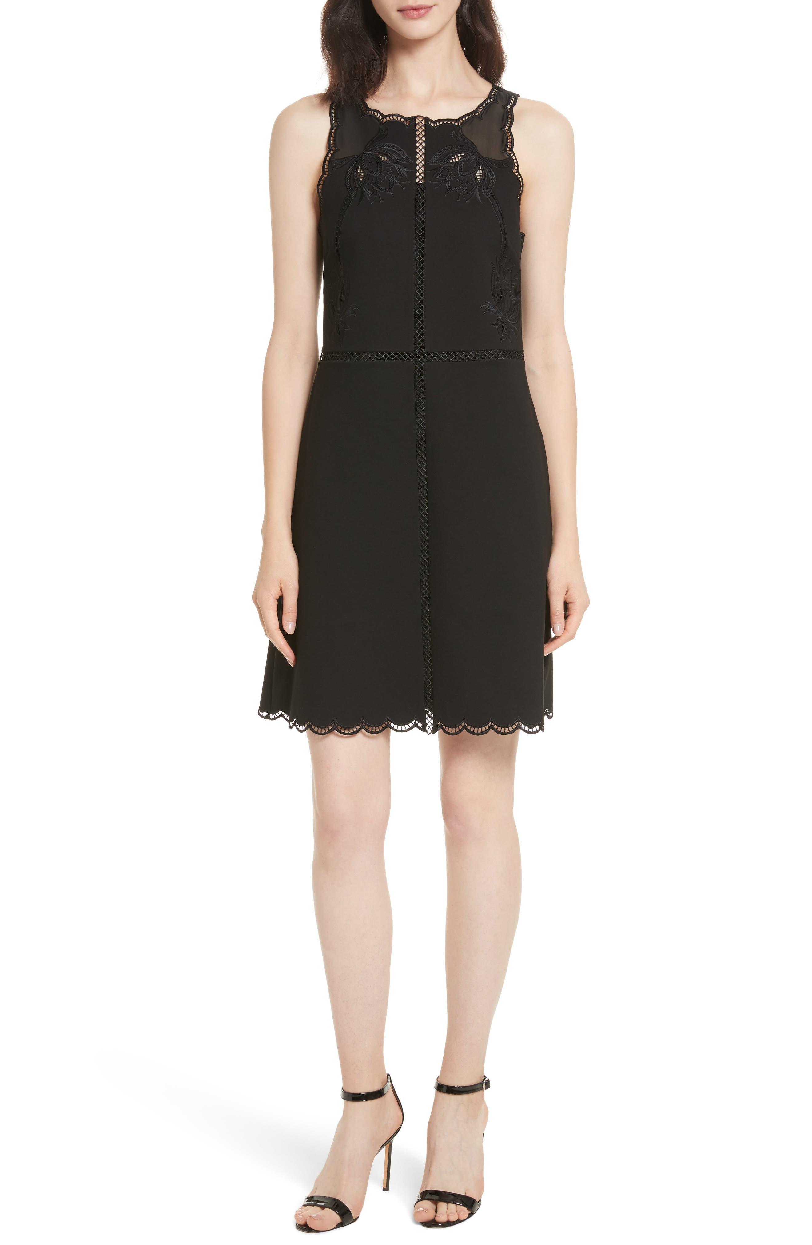 Codi Embroidered Scallop A-Line Dress,                         Main,                         color, 001