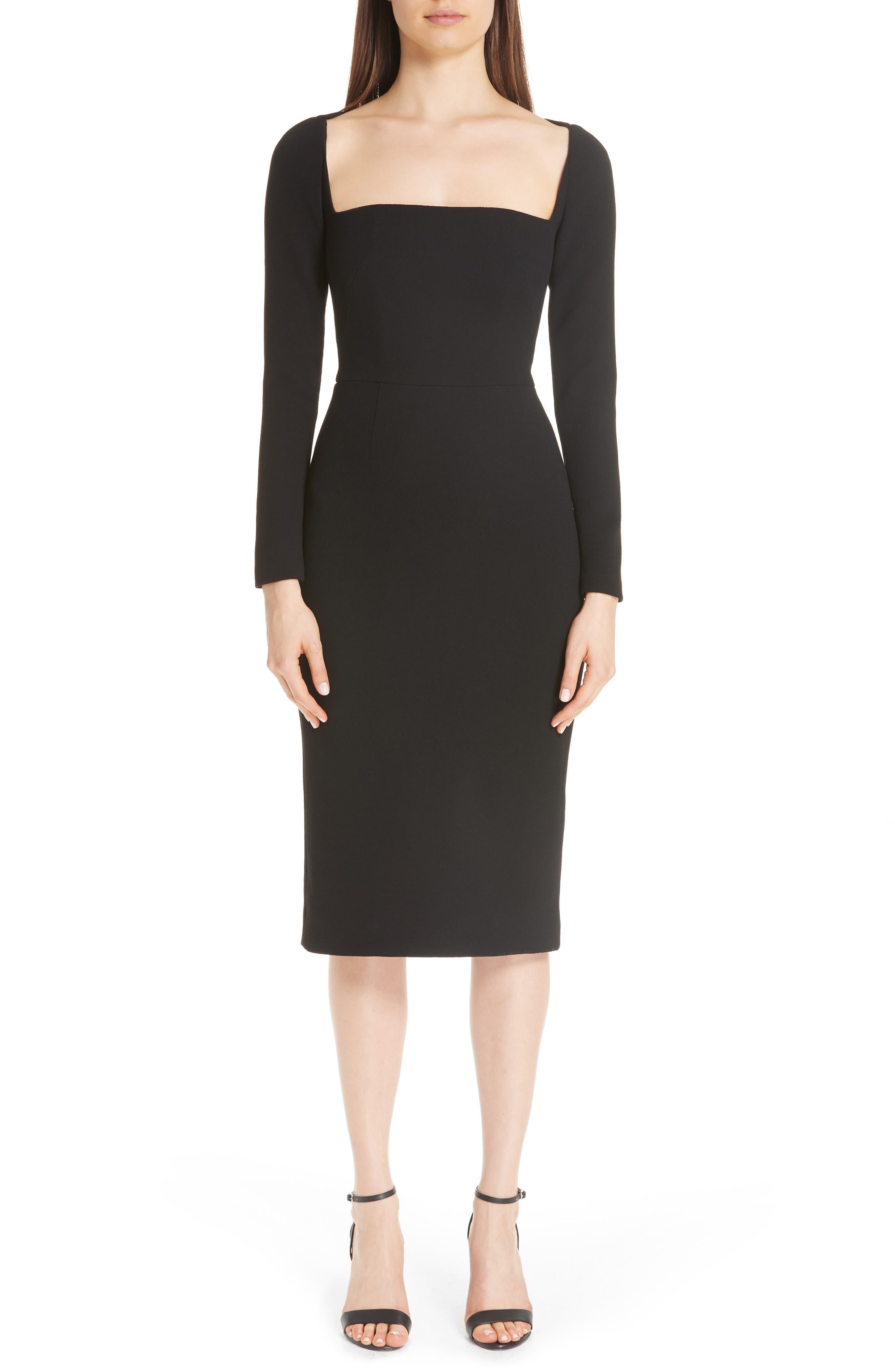 Lela Rose Square Neck Wool Blend Crepe Sheath Dress, Black