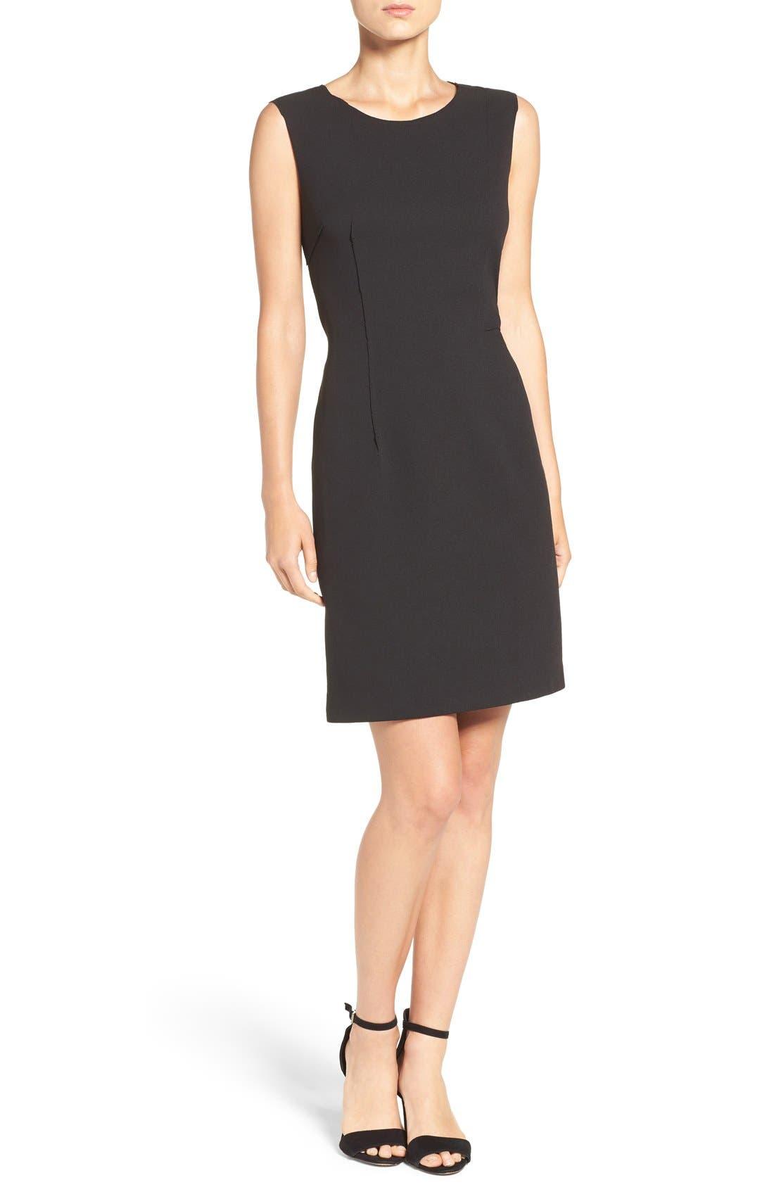 Scuba Crepe Sheath Dress,                             Alternate thumbnail 3, color,                             001