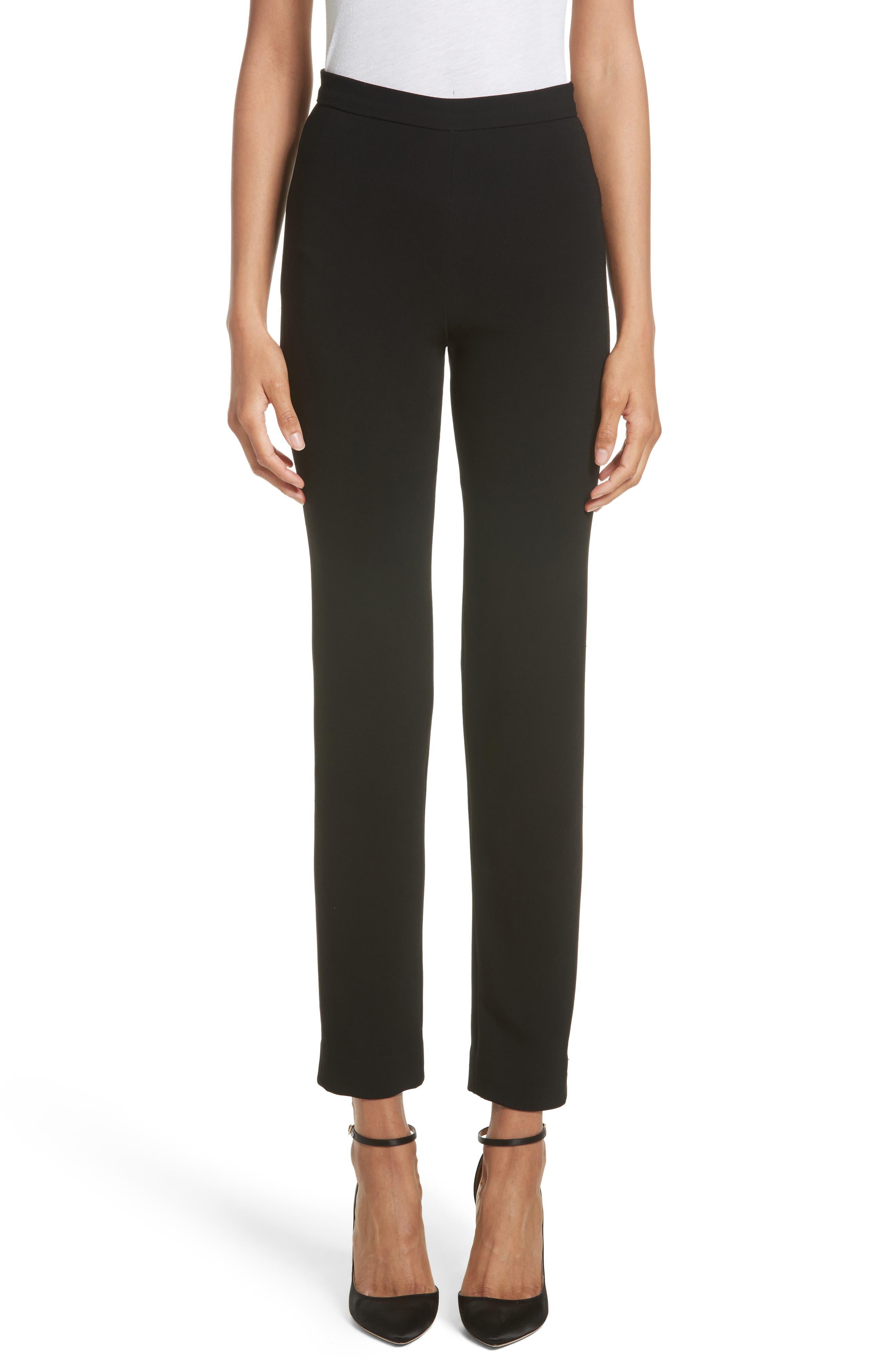 Crepe Cigarette Pants,                         Main,                         color, BLACK