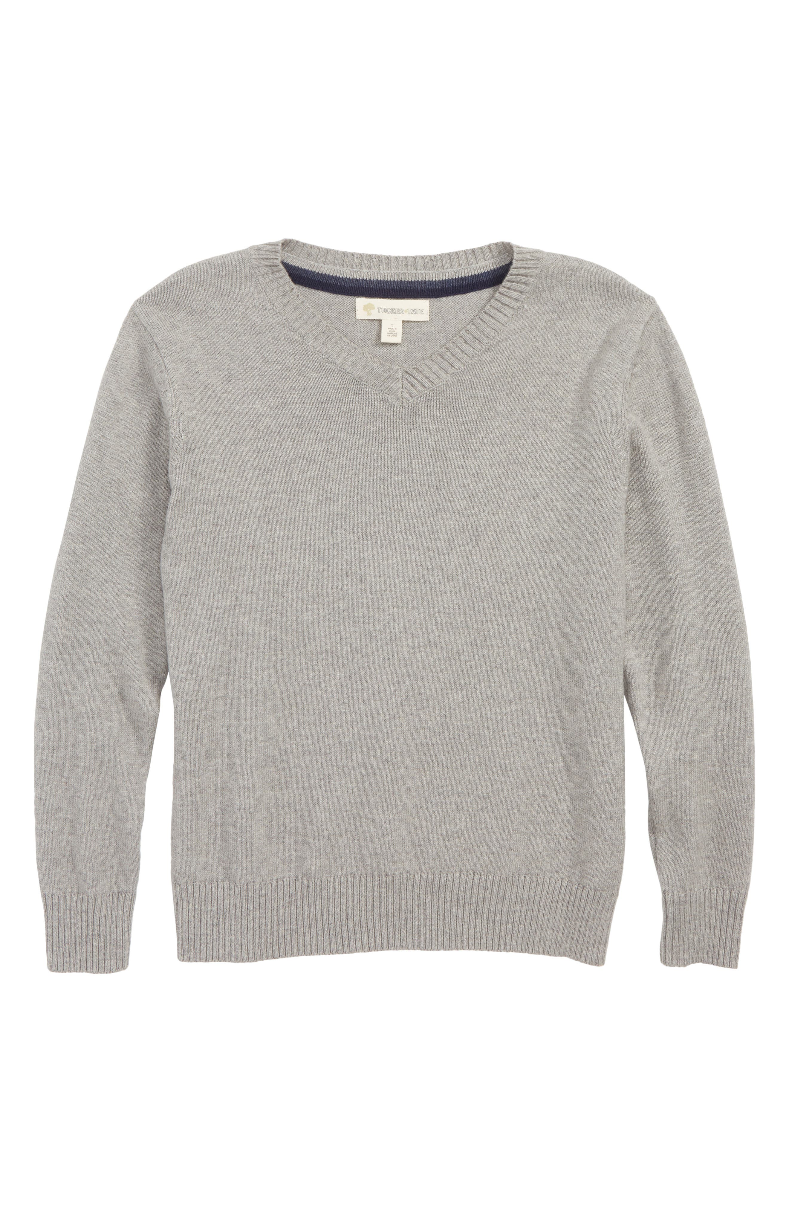 V-Neck Sweater,                         Main,                         color, GREY MEDIUM HEATHER