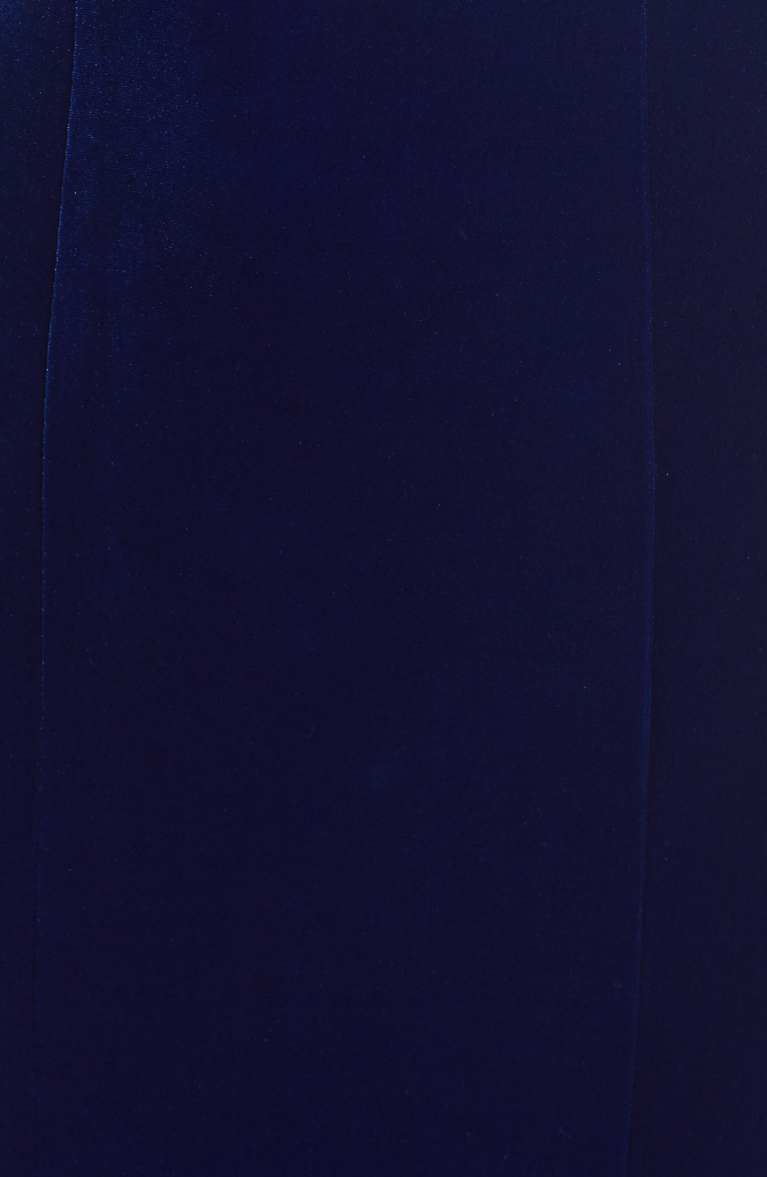 Crisscross Back Velvet Gown,                             Alternate thumbnail 5, color,                             ROYAL BLUE