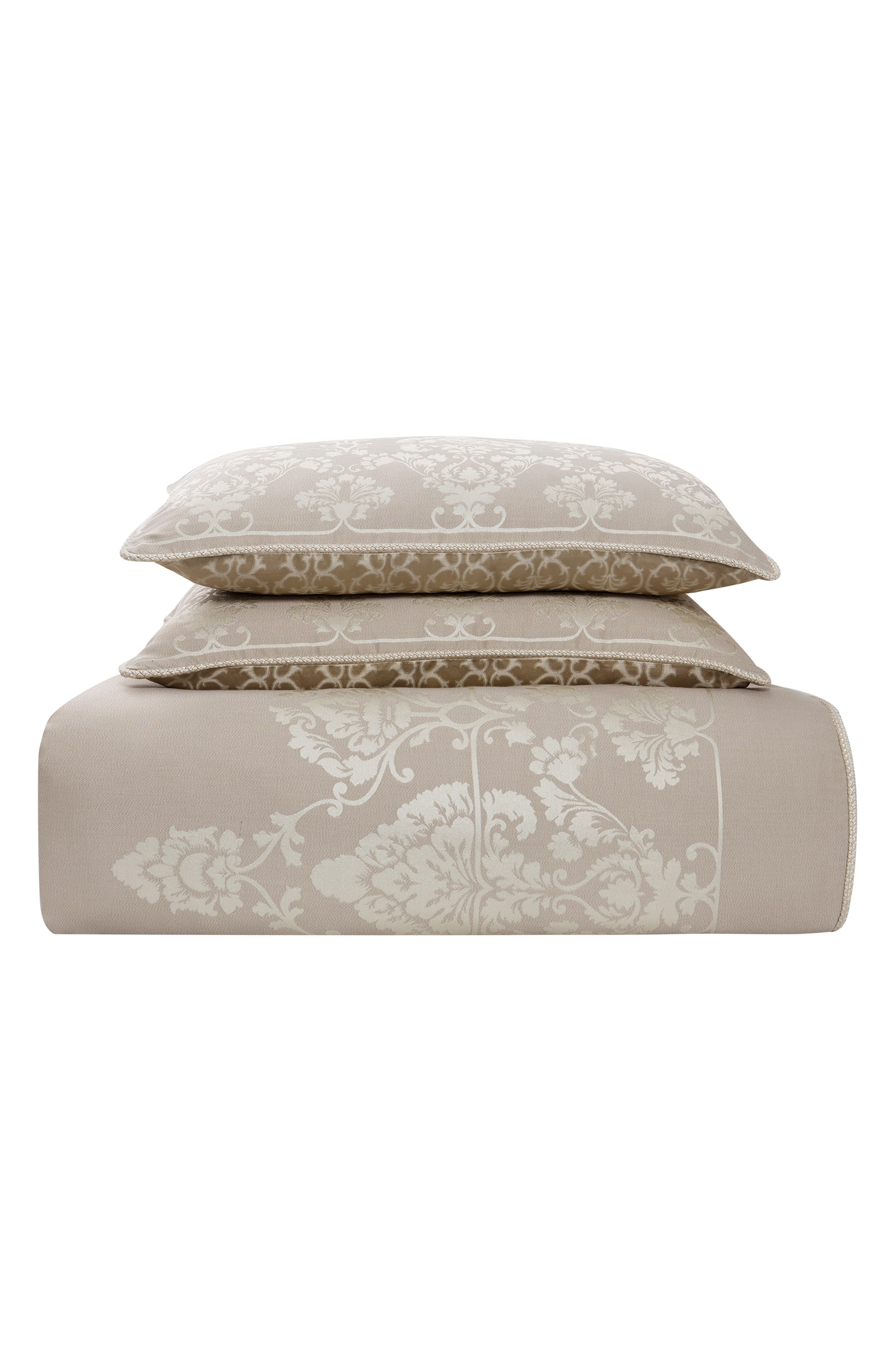 WATERFORD,                             Abrielle Reversible Comforter, Sham & Bed Skirt Set,                             Alternate thumbnail 2, color,                             CHAMPAGNE